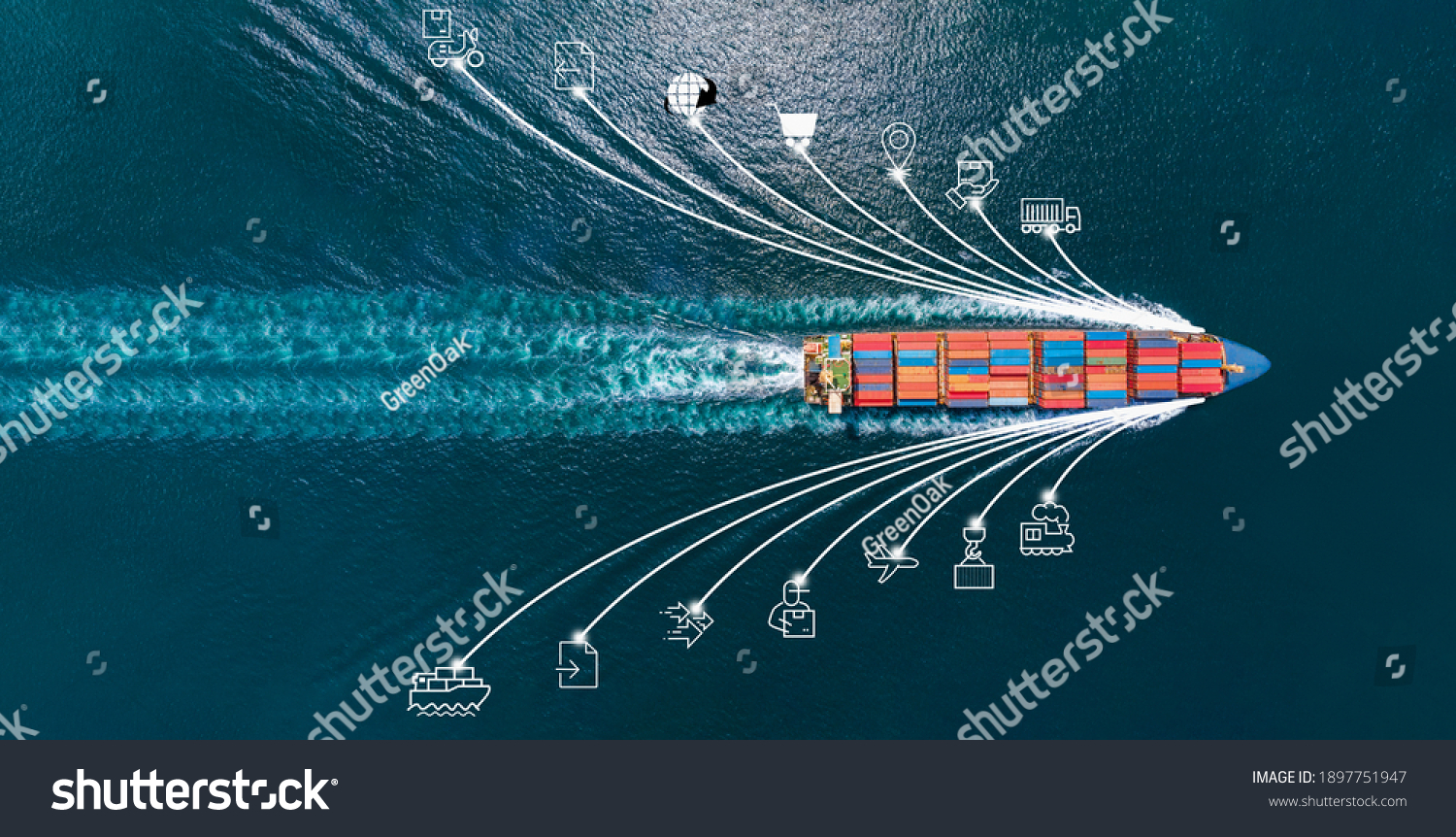 Aerial top view of cargo ship with contrail and smart icons on the ocean sea , ship carrying container export from container international port to custom ocean concept freight shipping by ship service #1897751947