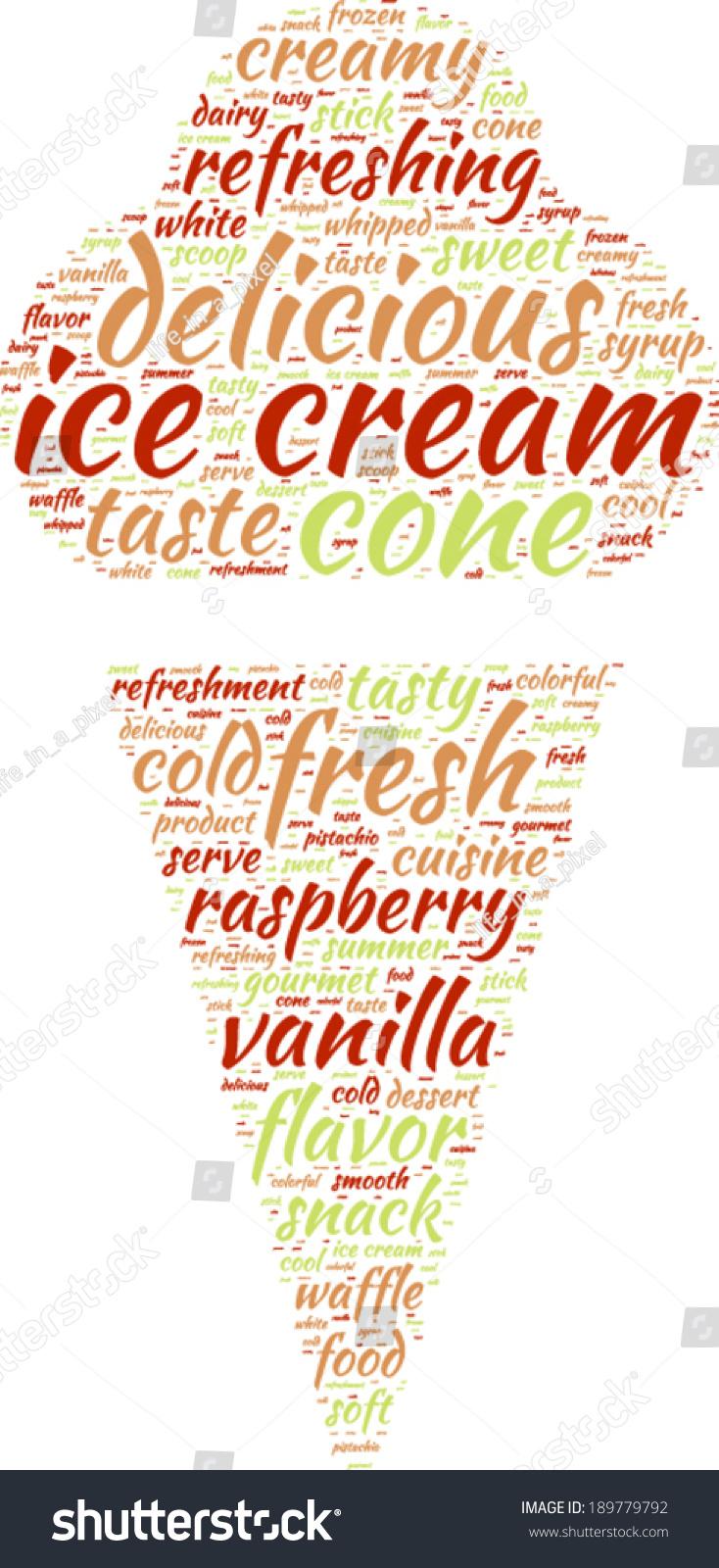 Ice Cream Pictogram Vector Tag Cloud Stock Vector (Royalty