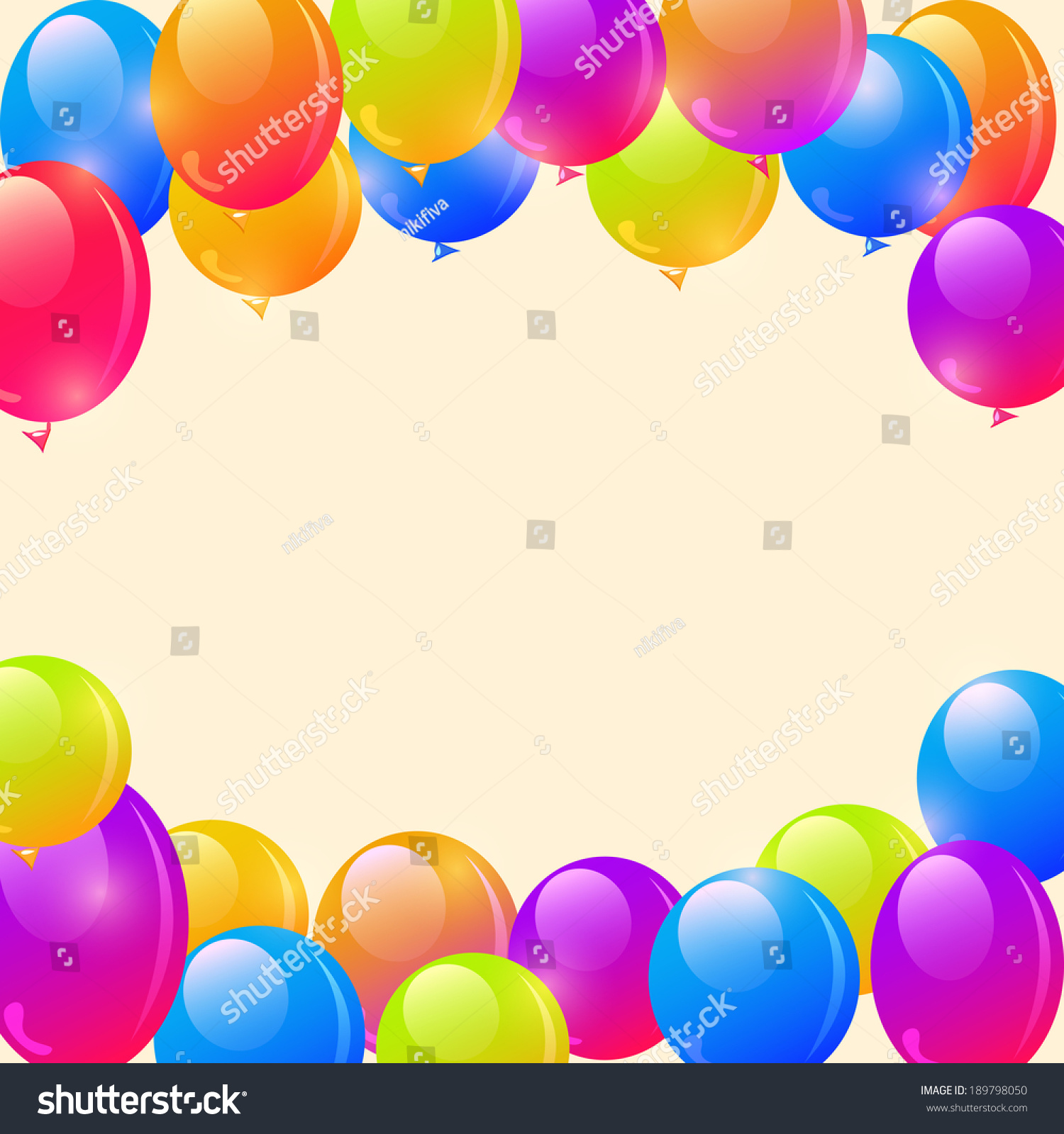 bright balloon frame background and place for text in the middle