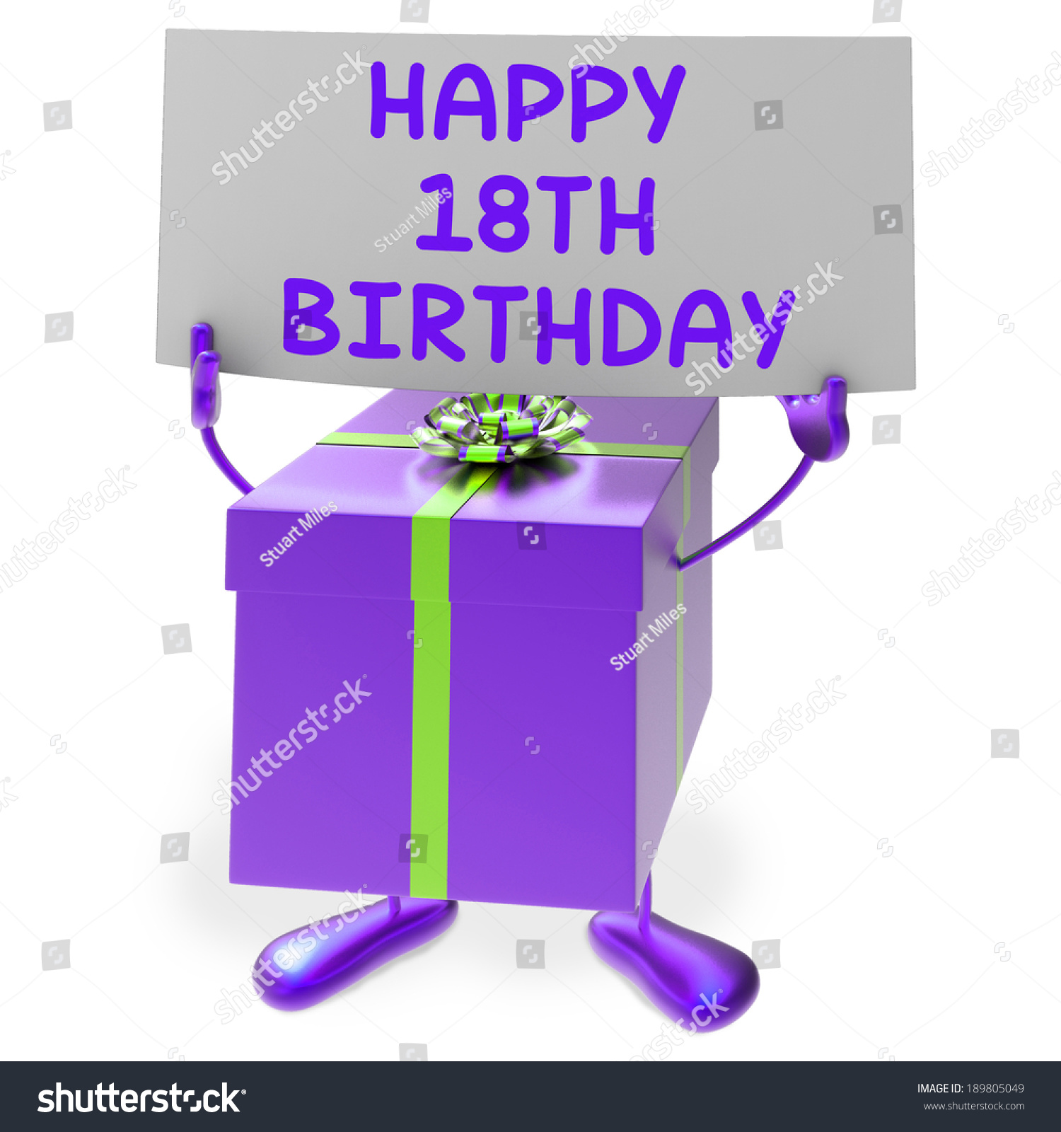 Happy 18th Birthday Sign Gift Showing Stock Illustration