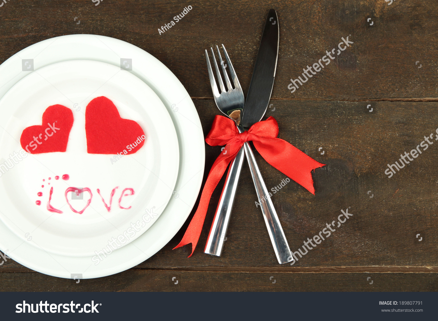 Romantic Holiday Table Setting On Wooden Stock Photo Edit Now
