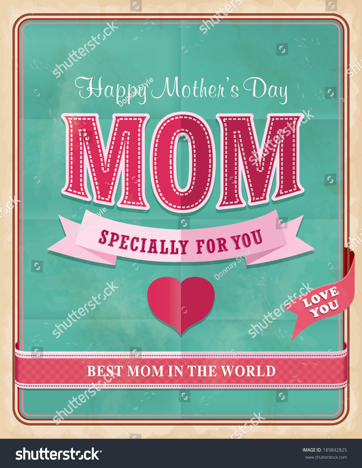 vintage mothers day poster design stock vector 189842825
