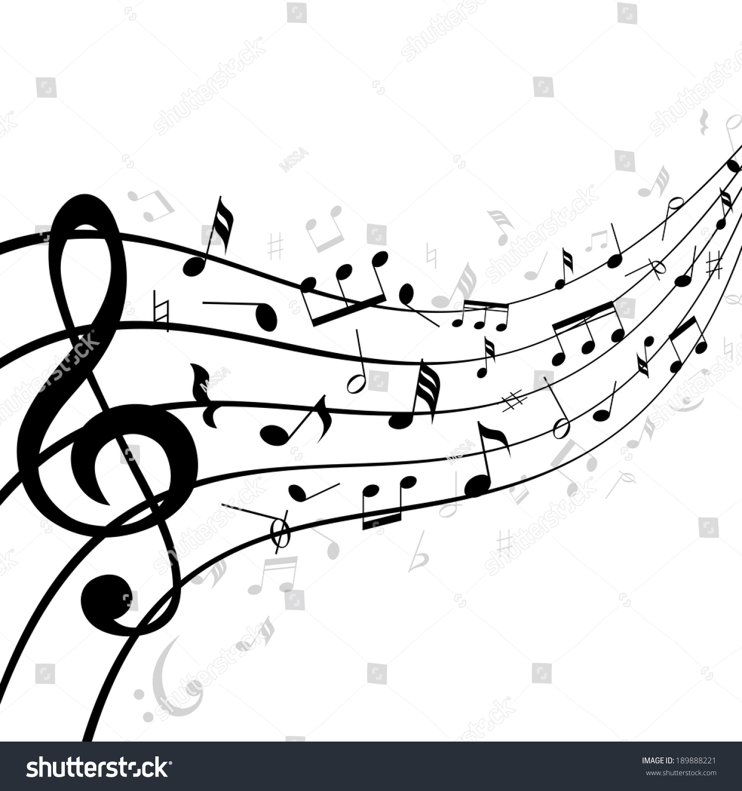music notes on stave staff consisting stock vector 189888221