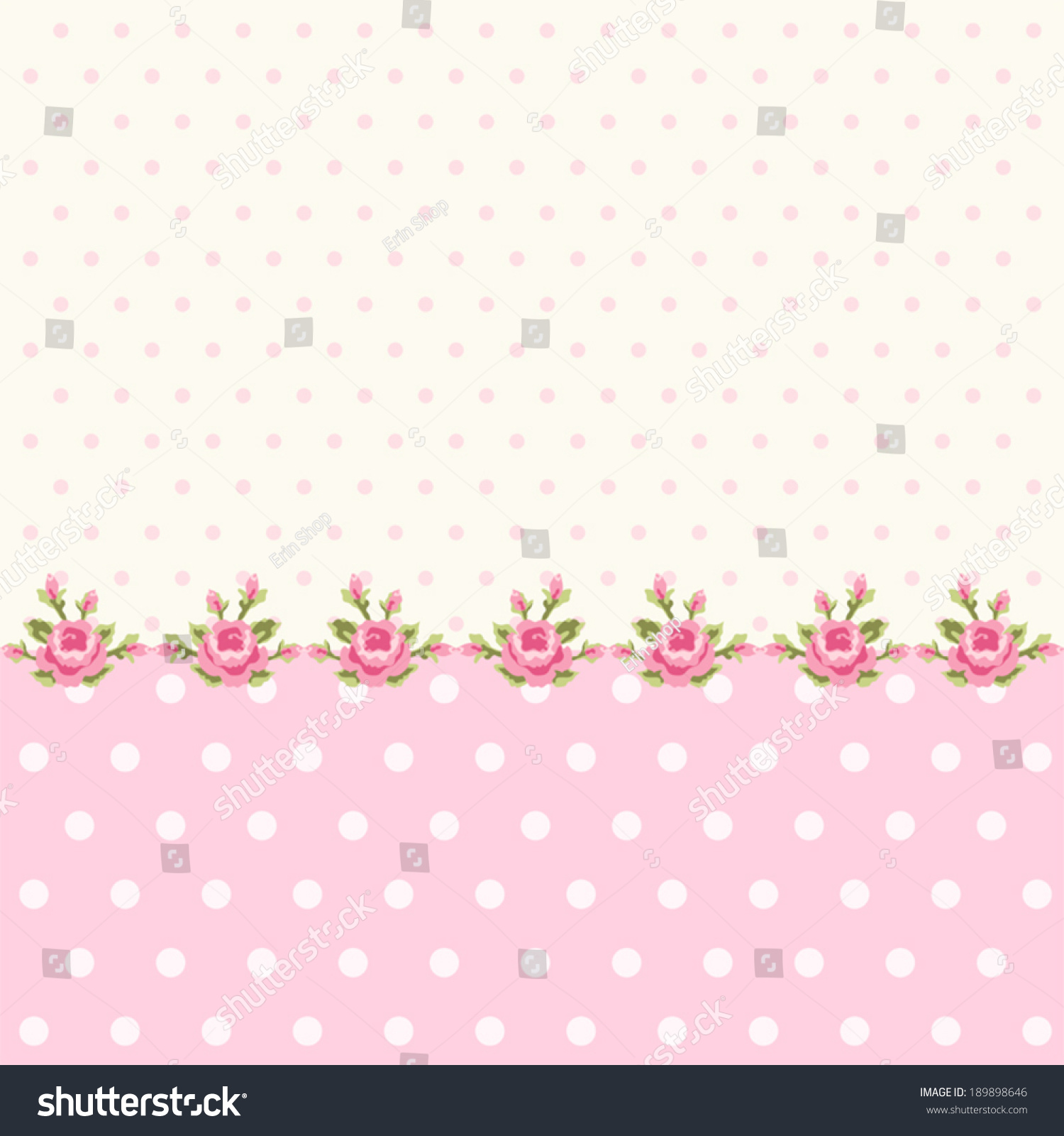 Vintage Polka Dots Background With Border Of Roses In Shabby Chic Style 189898646