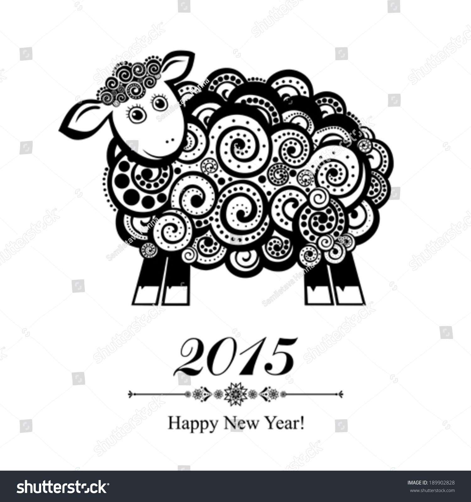 2015 new year card with blue sheep vector illustration 189902828