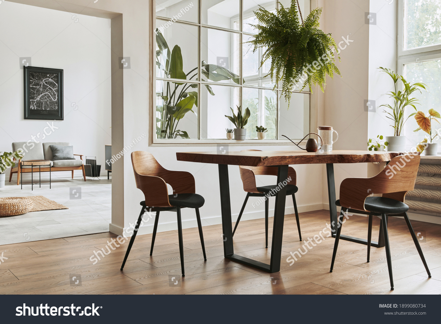 Stylish and botany interior of dining room with design craft wooden table, chairs, furniture, a lof of plants, window, poster map and elegant accessories in modern home decor. Template. #1899080734