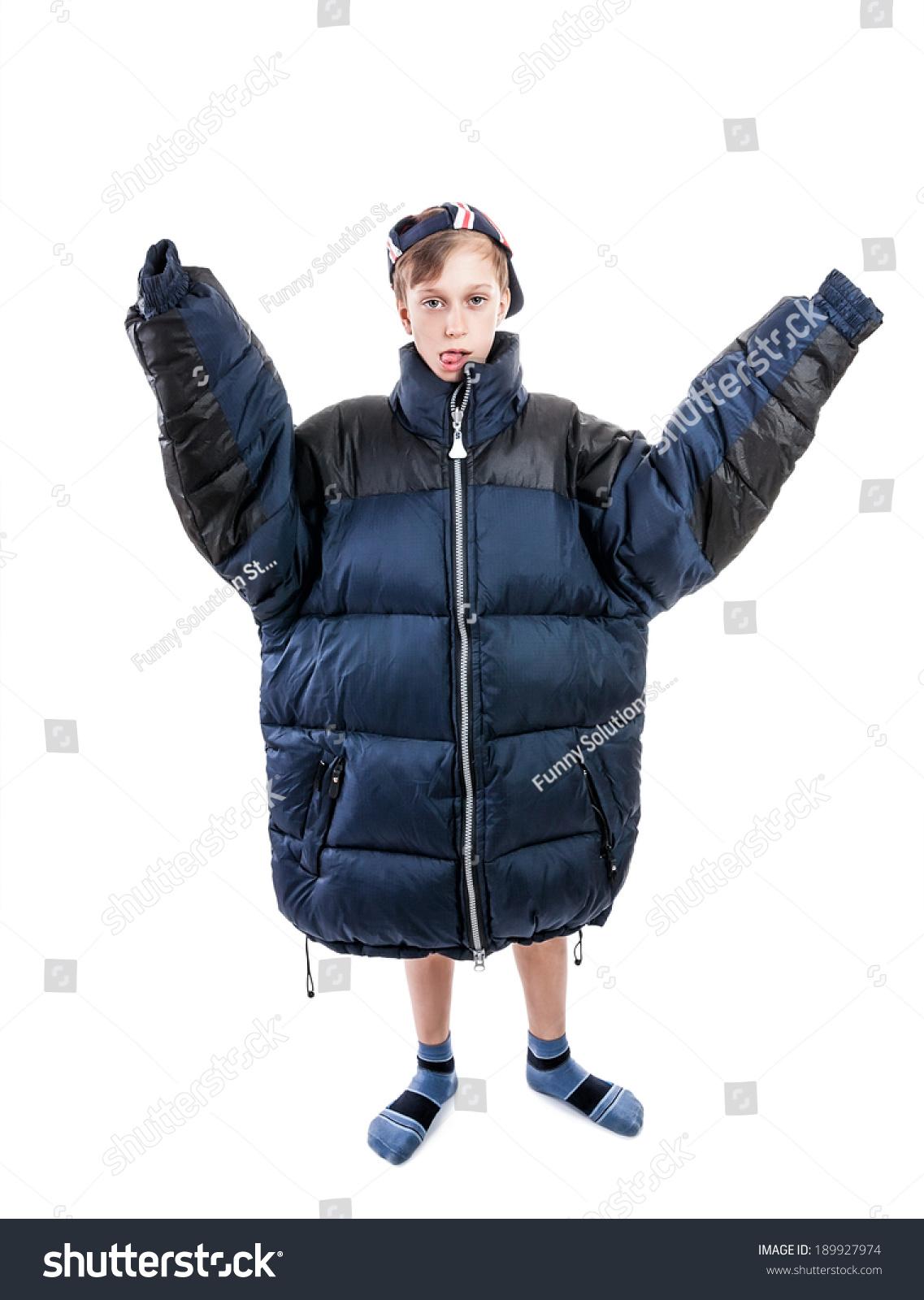 Funny Boy Wearing Big Winter Jacket Stock Photo 189927974