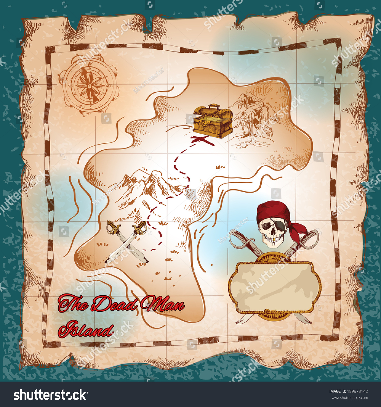 torn paper vintage pirate treasure map stock vector 189973142