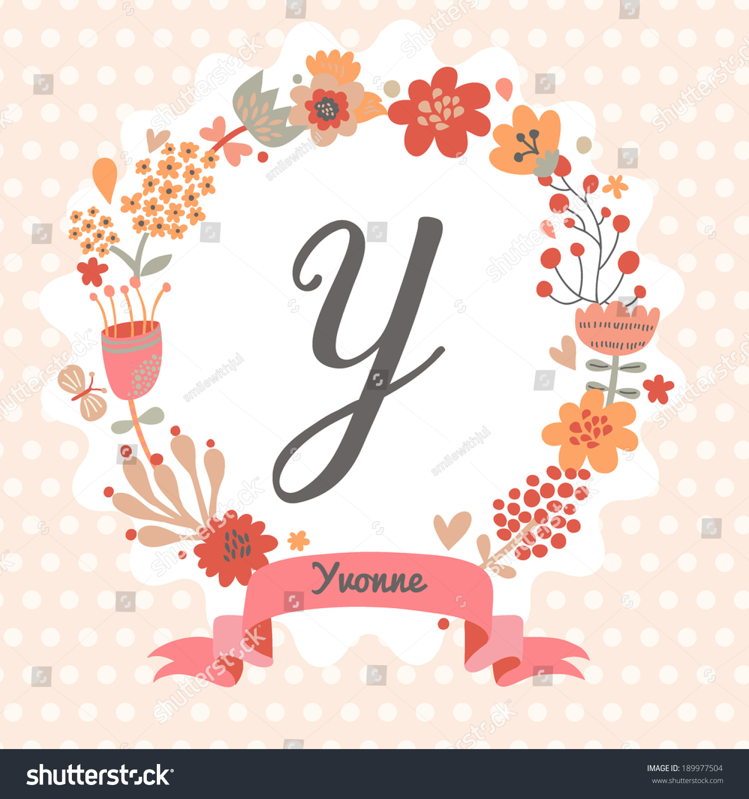 Personalized Monogram Vintage Colors Stylish Letter Stock Vector