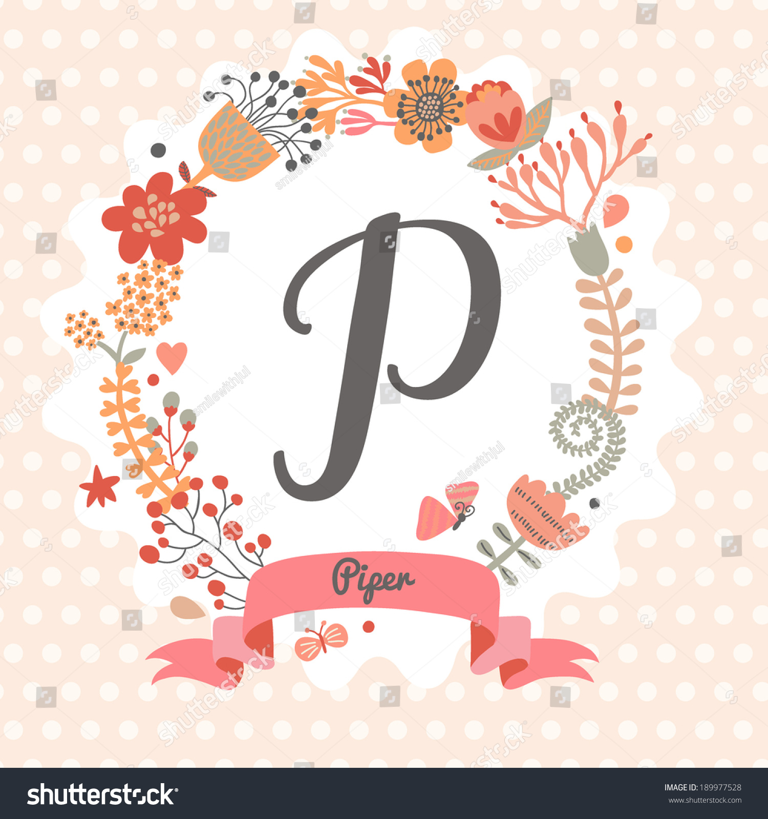 Personalized monogram in vintage colors stylish letter p can be used