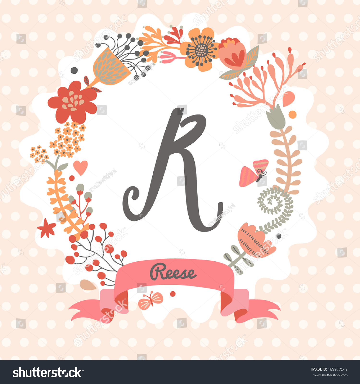 Personalized monogram in vintage colors  Stylish letter R  Can be used as  greeting card. Personalized Monogram Vintage Colors Stylish Letter Stock Vector