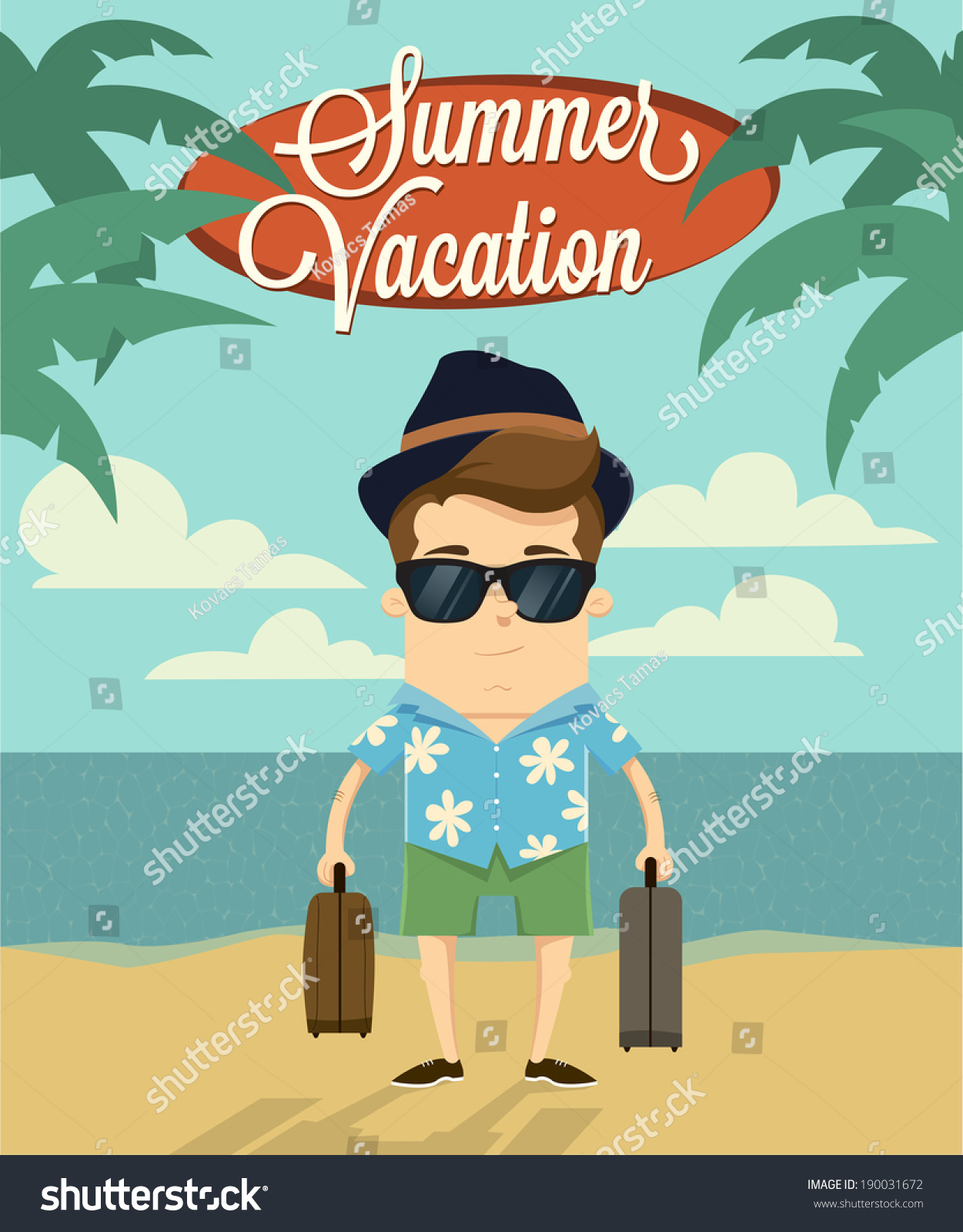 Character Design Summer Classes : Summer vacation with character design vector illustration