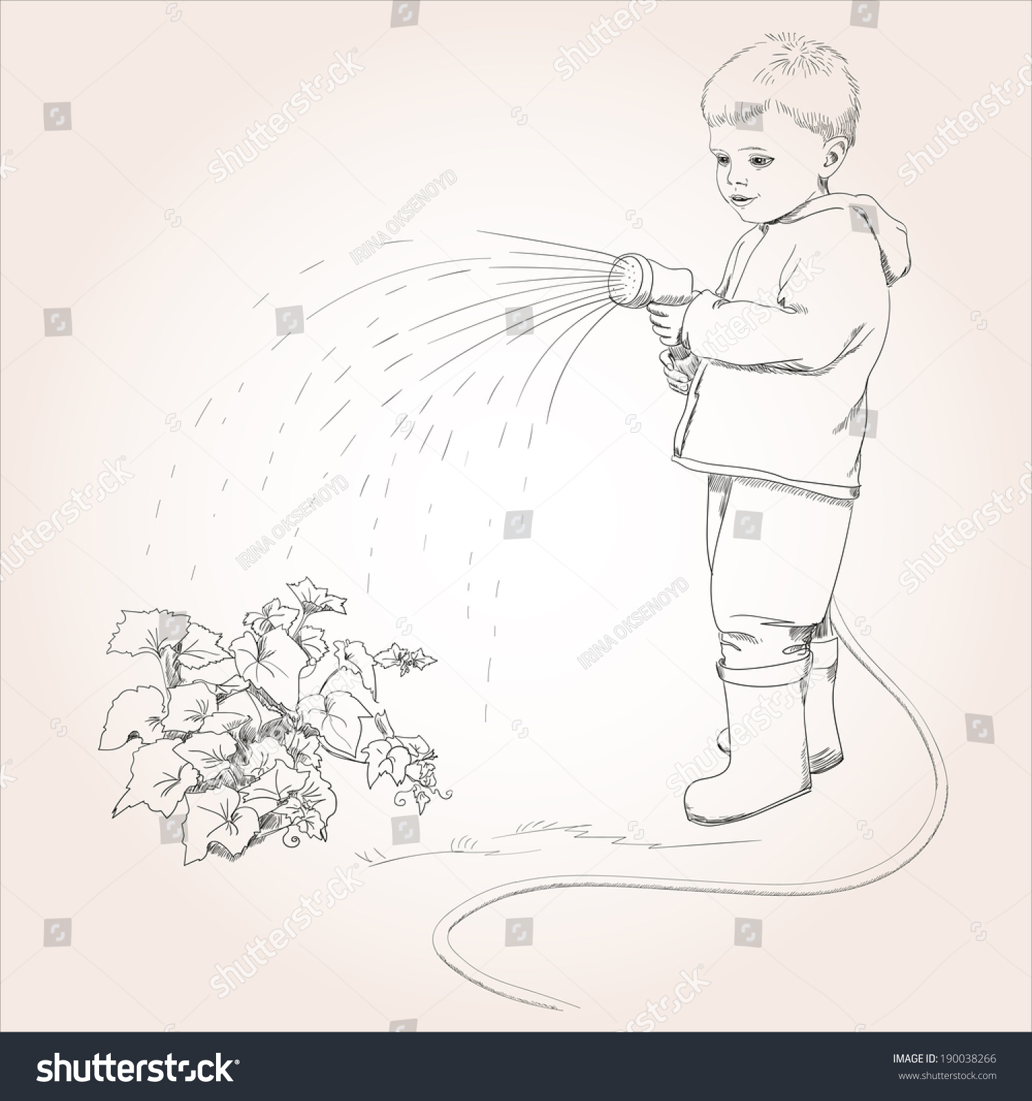 Vegetable garden sketch - Sketch Of A Boy With Garden Hose Watering Vegetable Garden