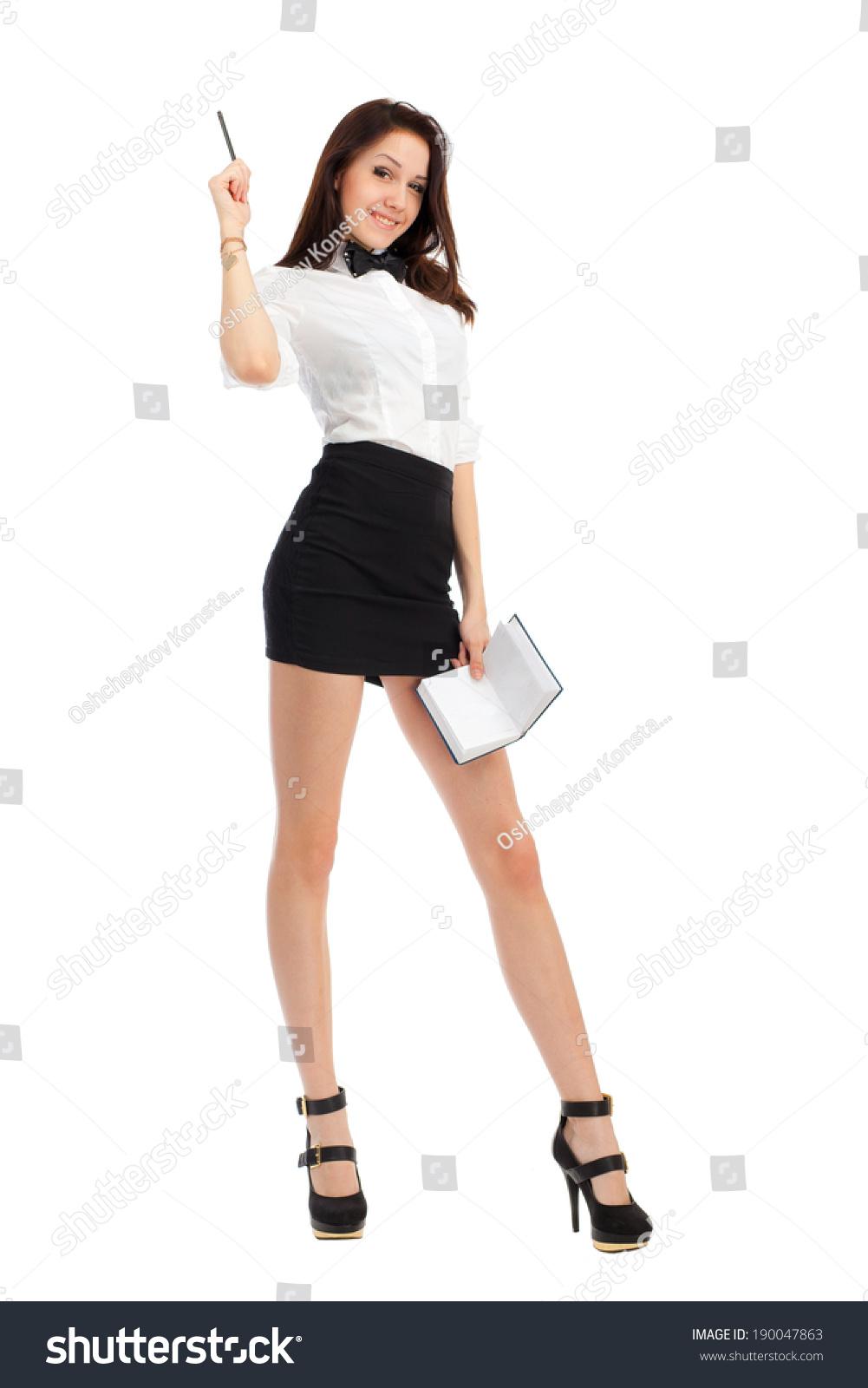 Beautiful Businesswoman Short Skirt Long Legs Stock Photo ...