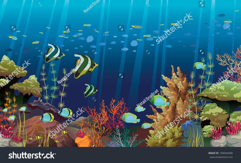 coral reef sea creatures underwater nature stock vector 190049408