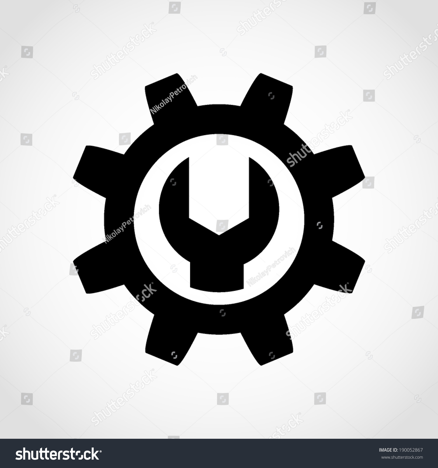 White Gear Icon Wrench Gear Icon Isola...