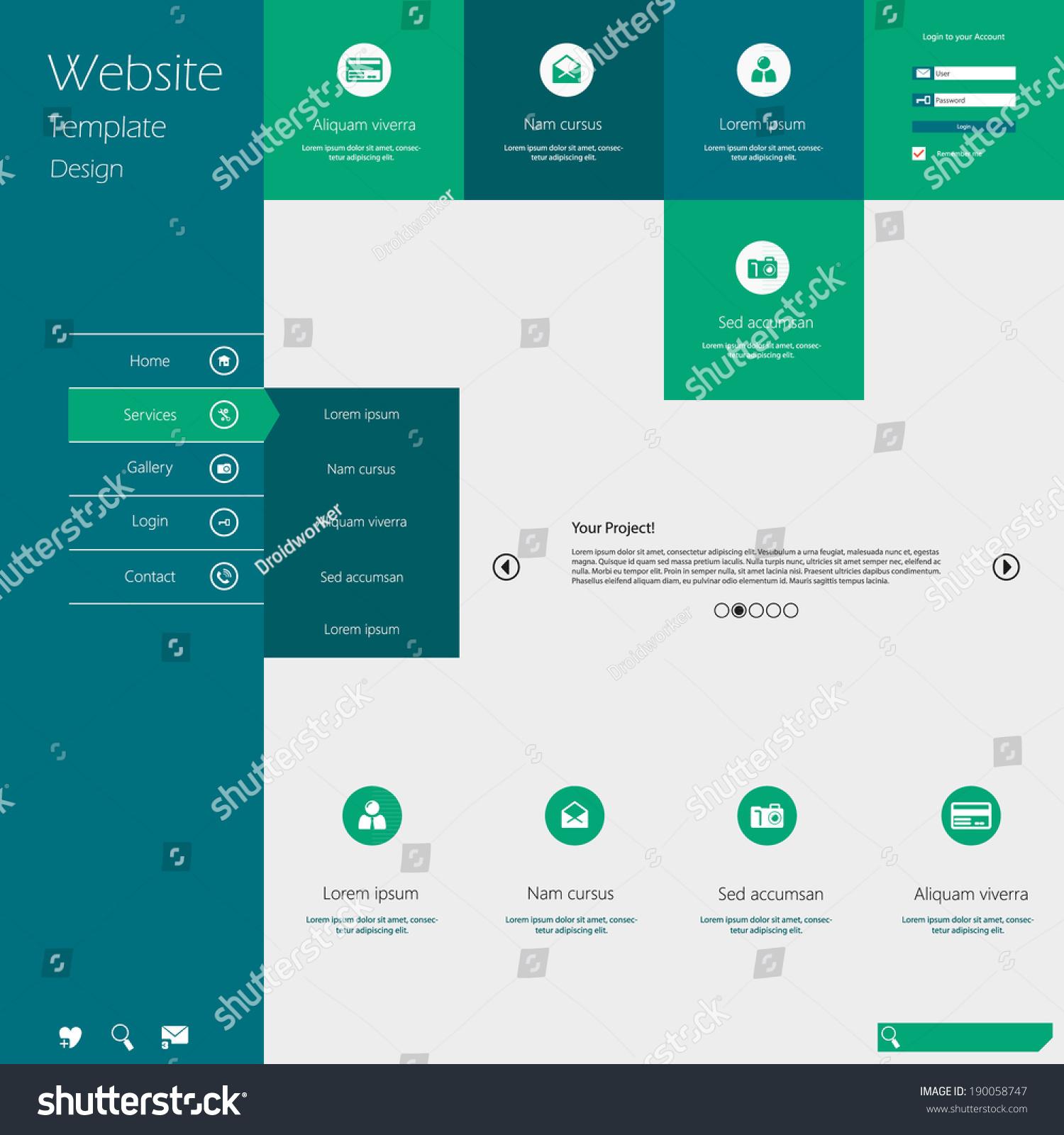Flat Design Menu Website Creative Web Stock Vector 190058747 ...
