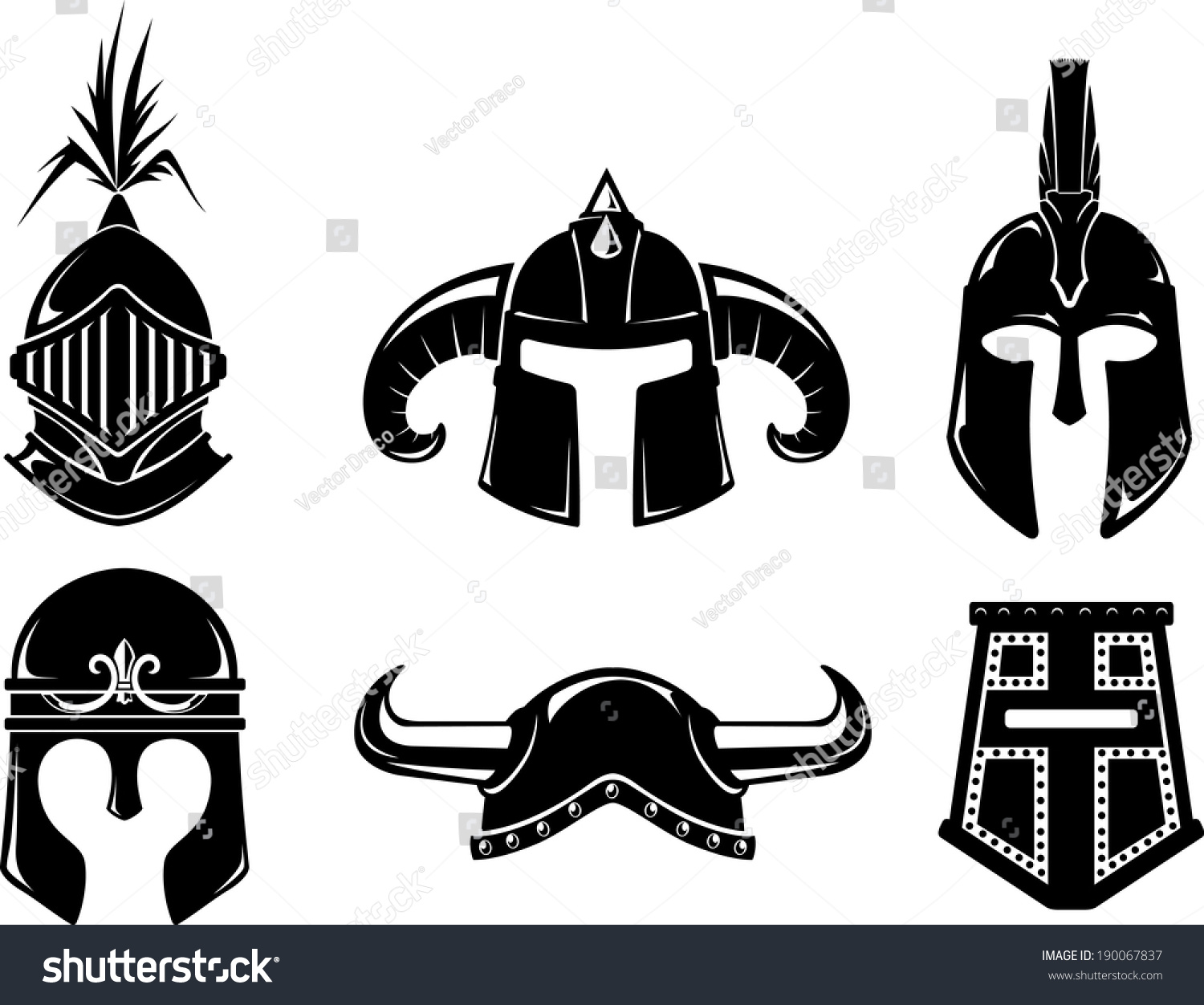 Collection warrior helmet isolated on white stock vector 190067837 collection of warrior helmet isolated on white background biocorpaavc Gallery