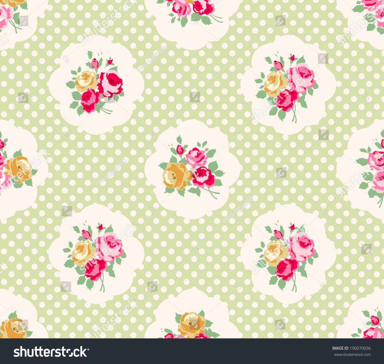 Beautiful Seamless Rose Pattern Polka Dot Stock Vector (Royalty Free ...