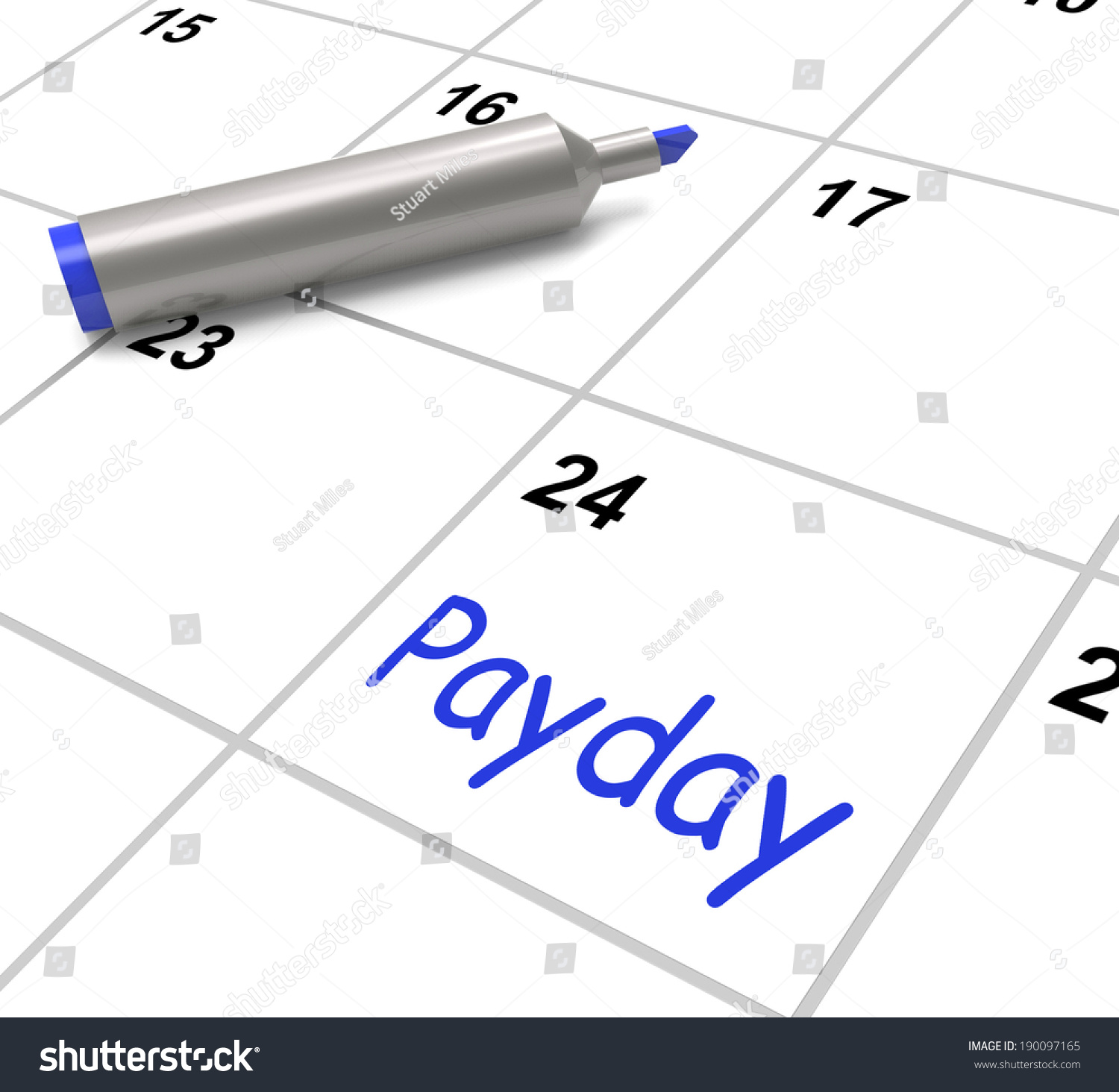 Calendar Photography Jobs : Payday calendar showing salary or wages for employment