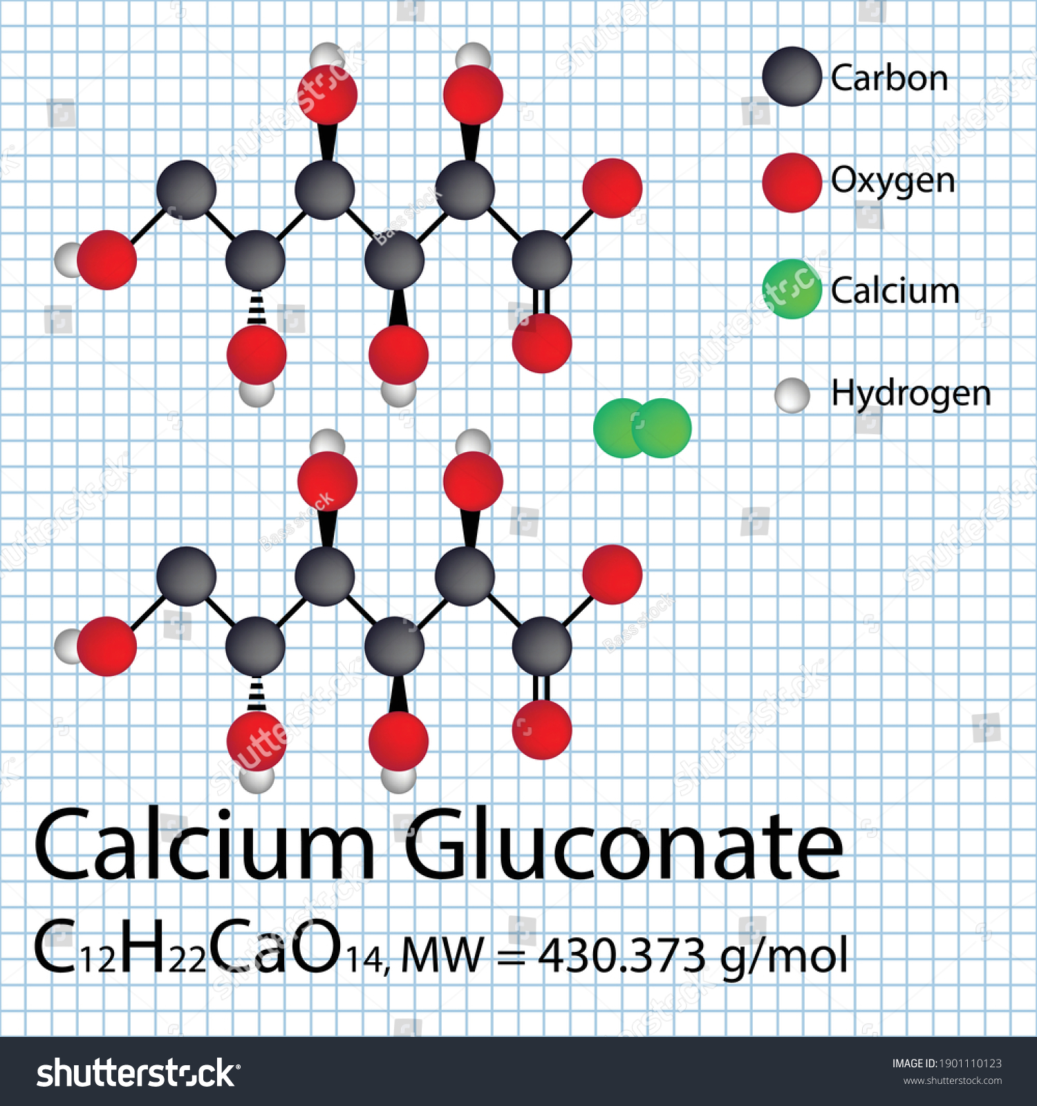 stock-vector-calcium-gluconate-chemical-formula-with-molecular-weight-d-ball-and-stick-molecular-structure-on-1901110123.jpg