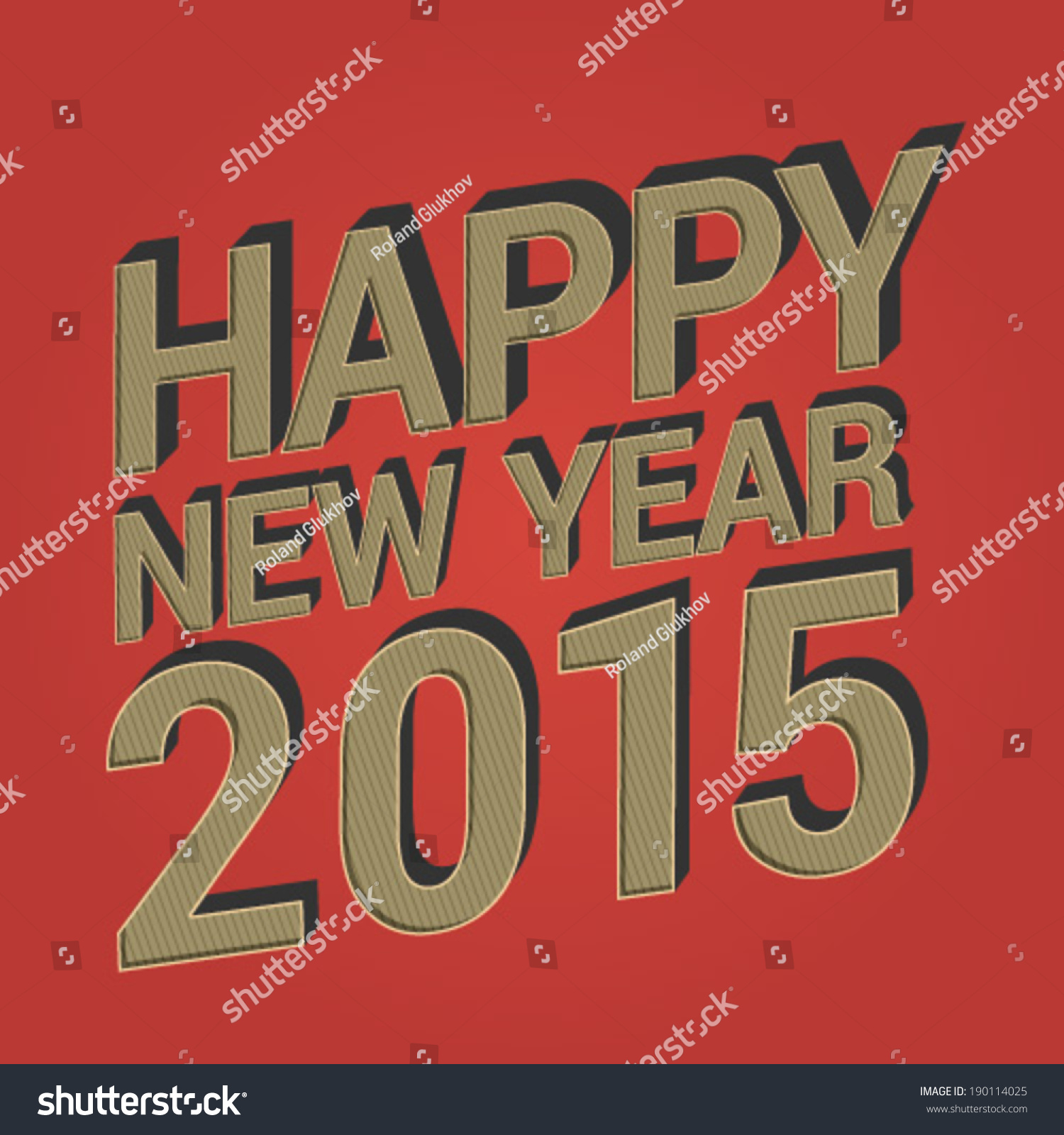 Happy New Year 2015 Vintage Designed Greeting Embossed 3d
