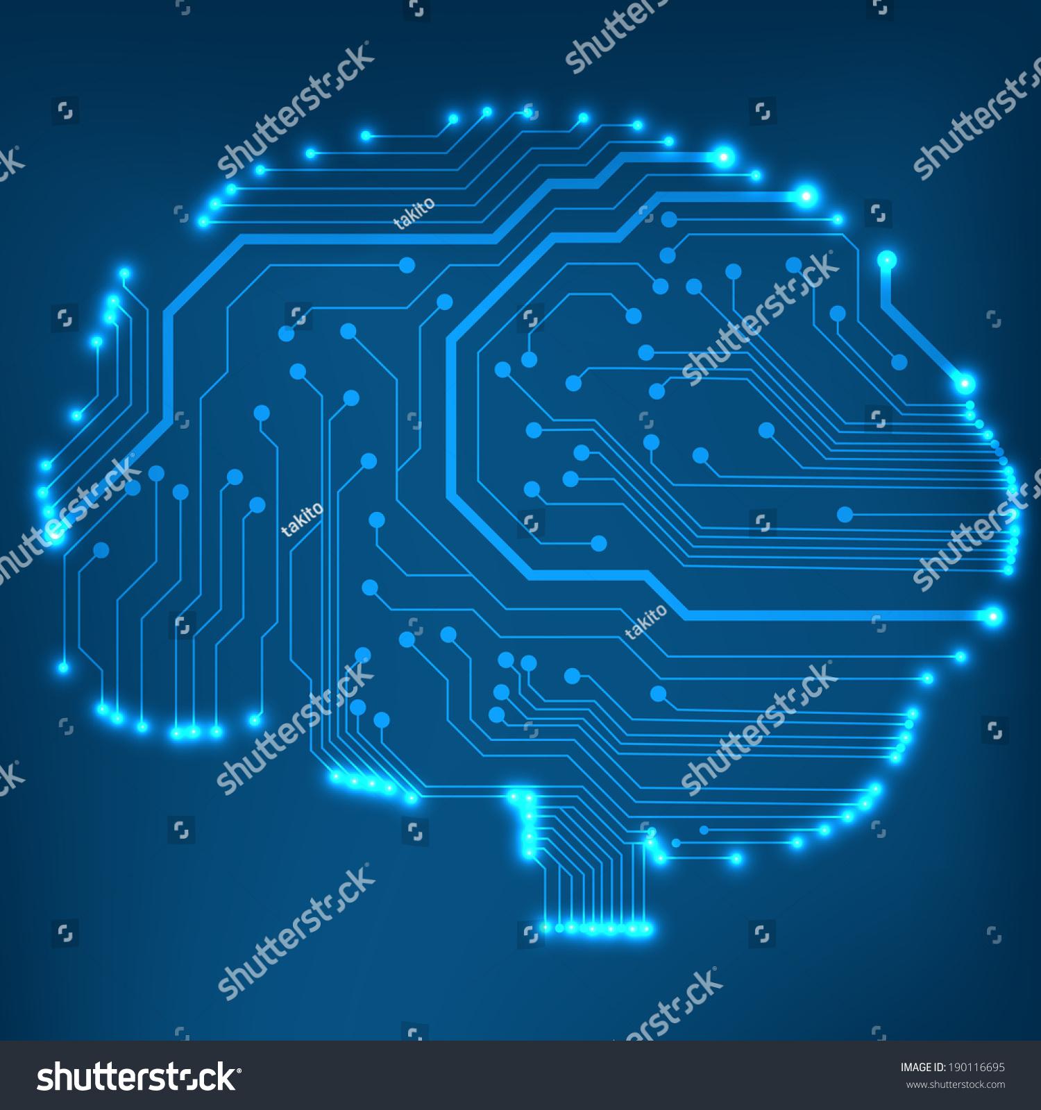 Circuit Brain Reusable : Circuit board computer style brain vector stock