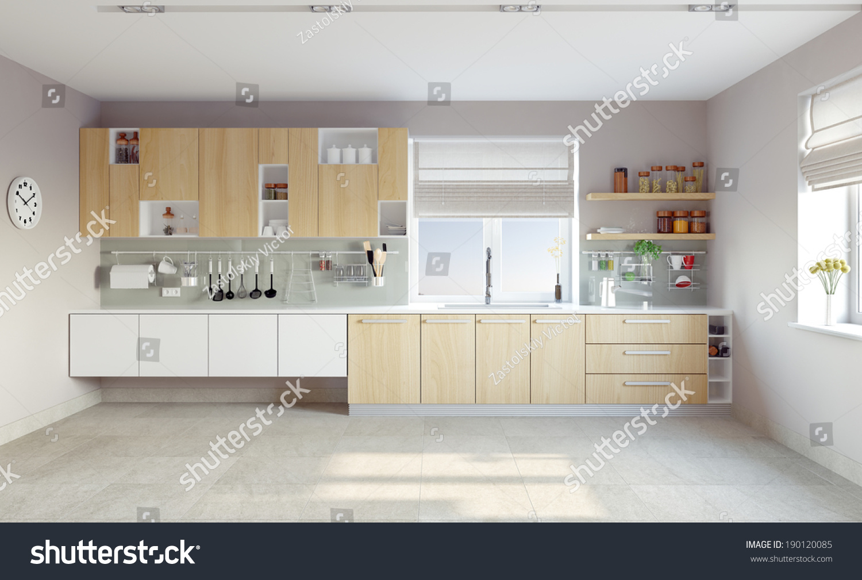 Modern Kitchen Interiors Modern Kitchen Interior Cg Concept Stock Photo 190120085
