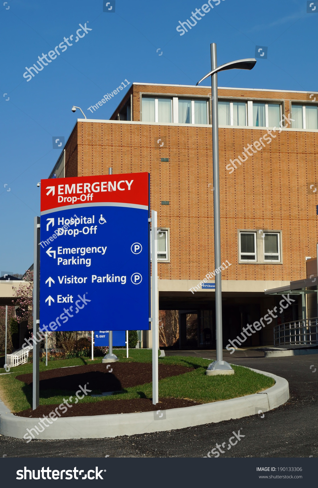 Hospital emergency department sign identifying hospital stock hospital emergency department sign identifying the hospital emergency department sciox Image collections