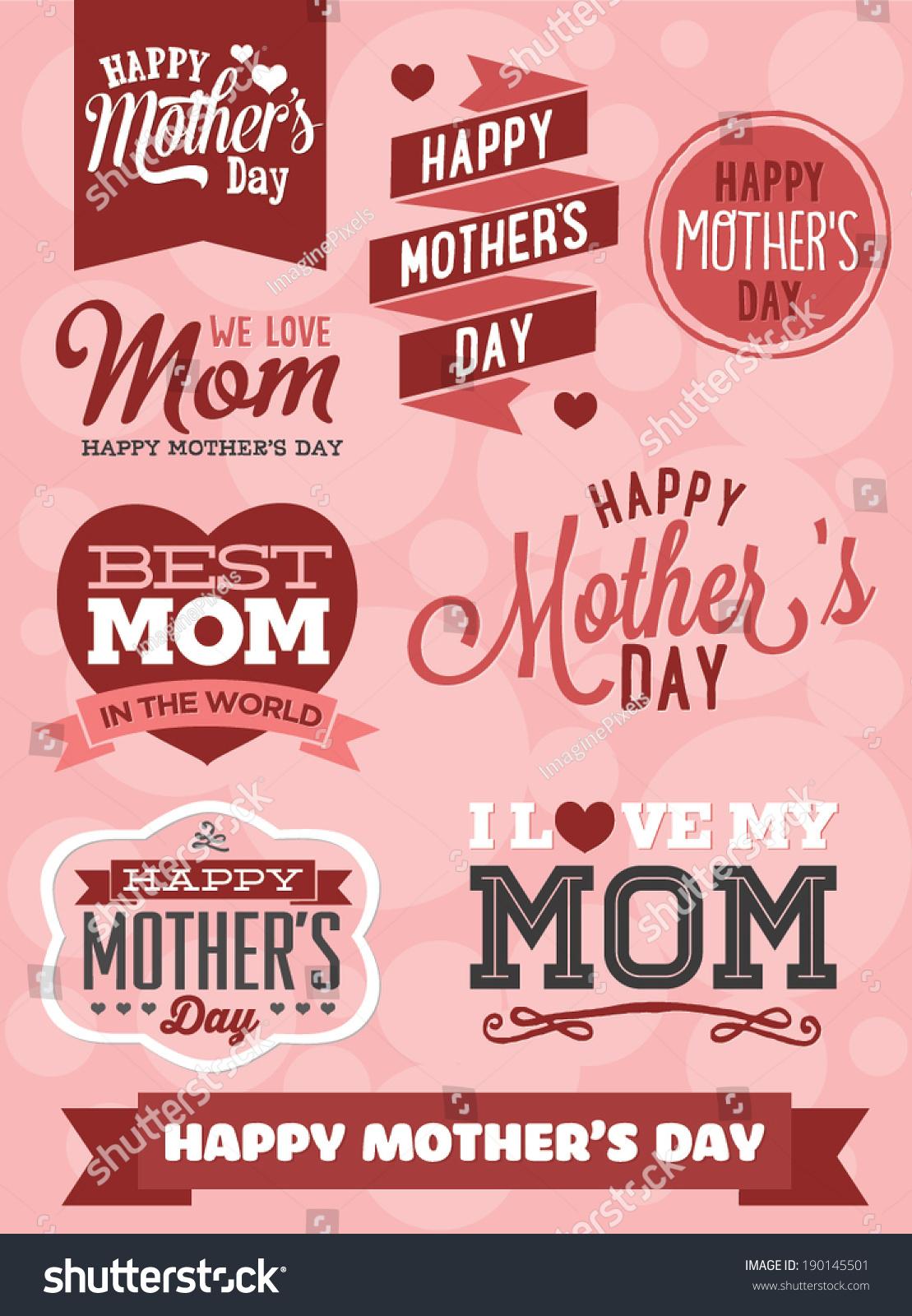 Happy Mothers Day Vector Set Best Stock-vektorgrafik ...