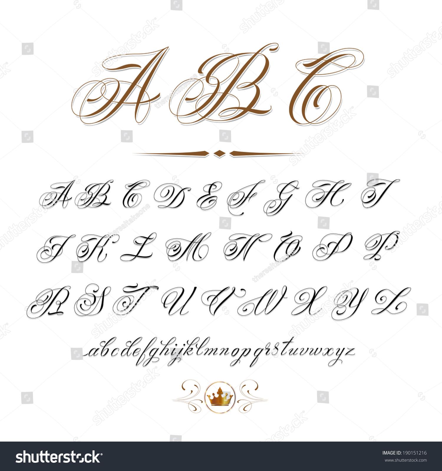 Vector hand drawn calligraphic alphabet based on