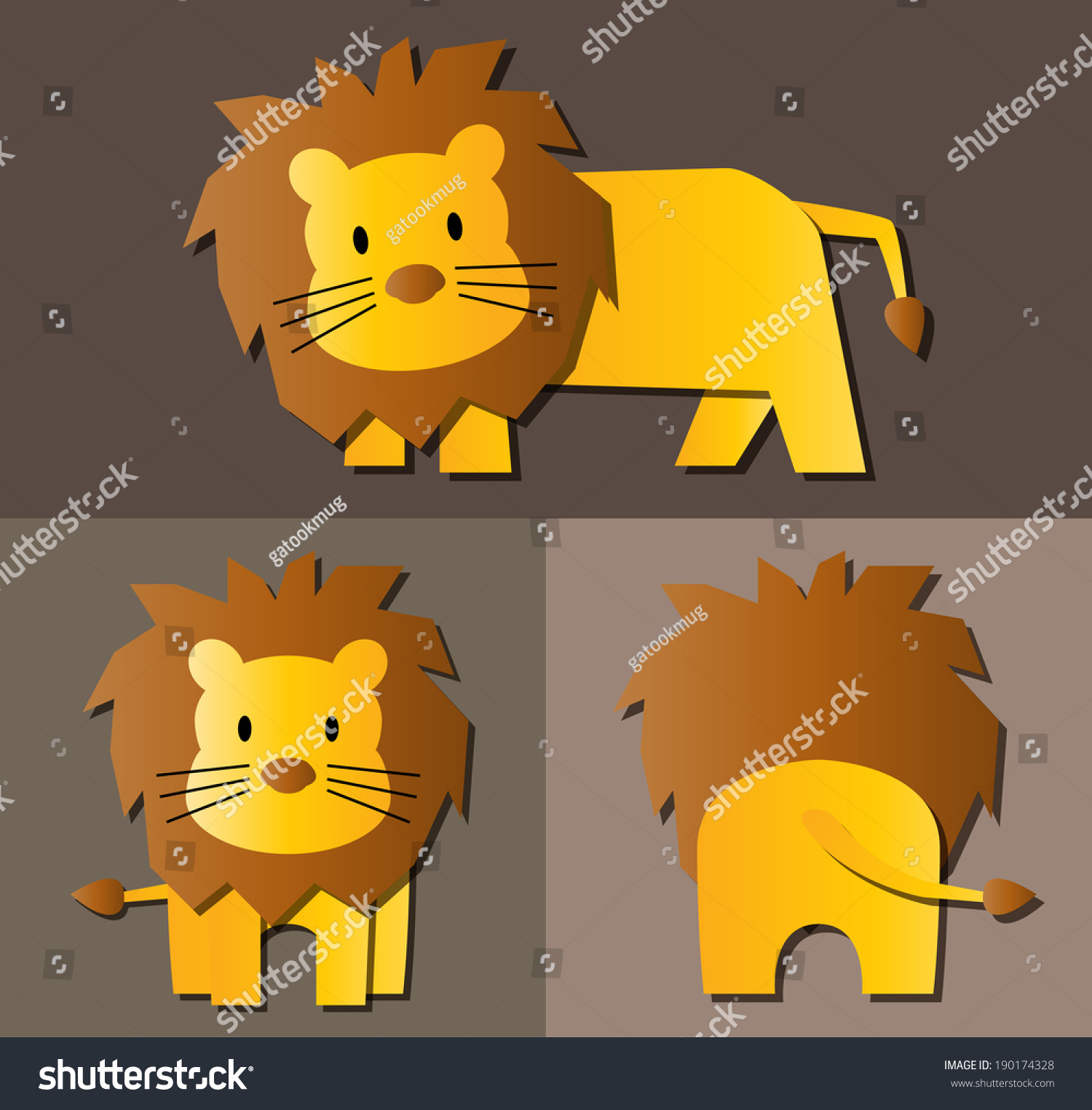 lion cartoon pattern with side view front view amp back