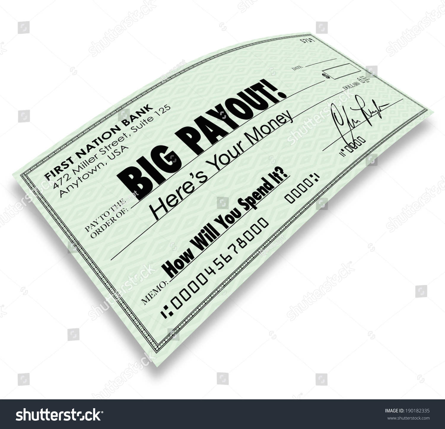 Big Payout Check Money Earnings Commission Stock Illustration ...