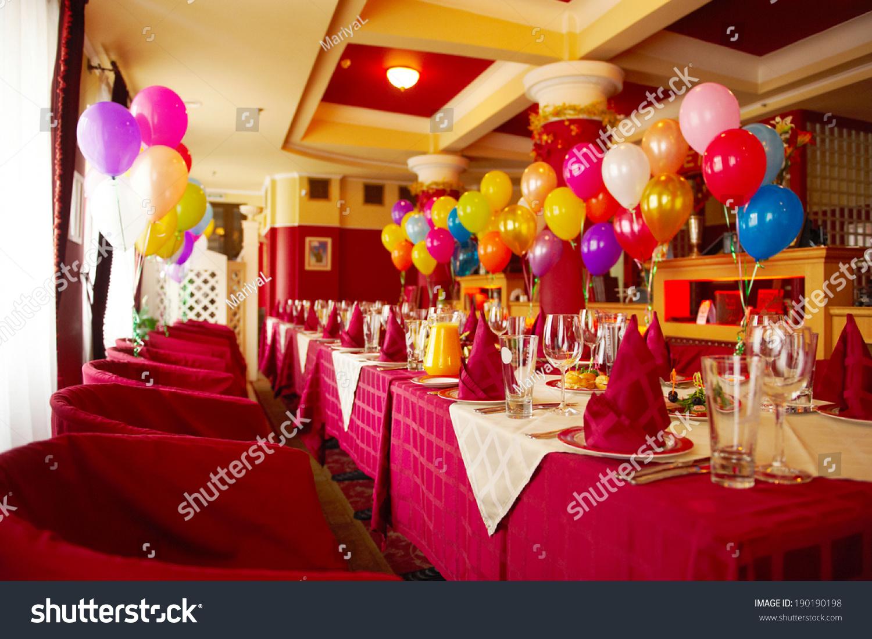 interior modern restaurant birthday party stock photo 190190198