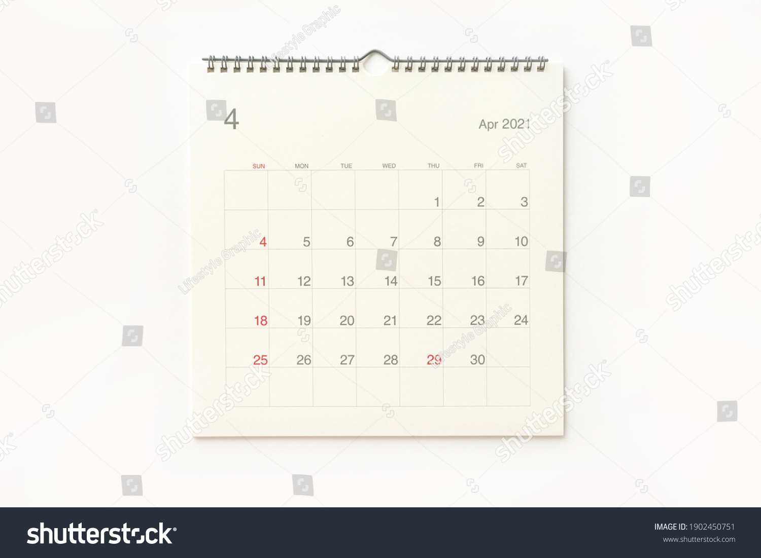 April 2021 calendar page on white background. Calendar background for reminder, business planning, appointment meeting and event. #1902450751