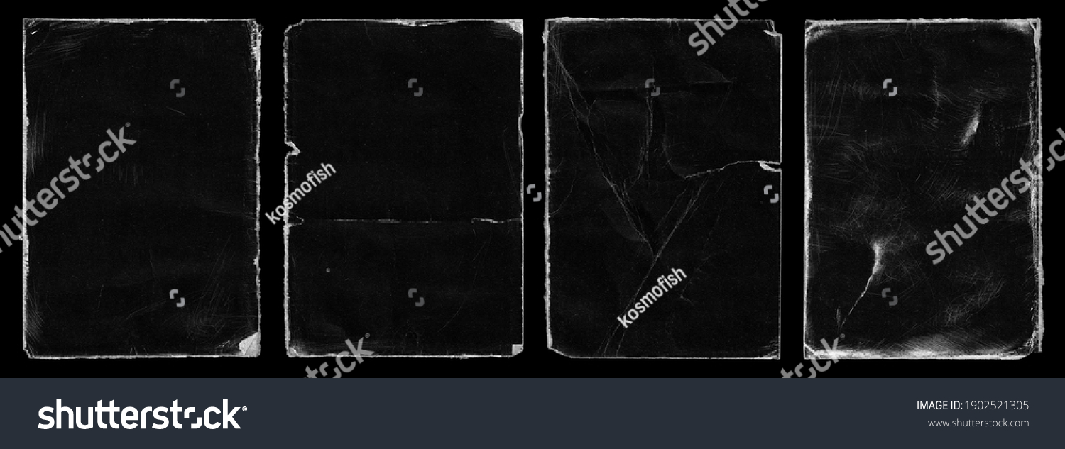 Set of Old Black Empty Aged Damaged Paper Cardboard Photo Card. Rough Grunge Shabby Scratched Torn Ripped Texture. Distressed Overlay Surface for Collage. High Quality. #1902521305
