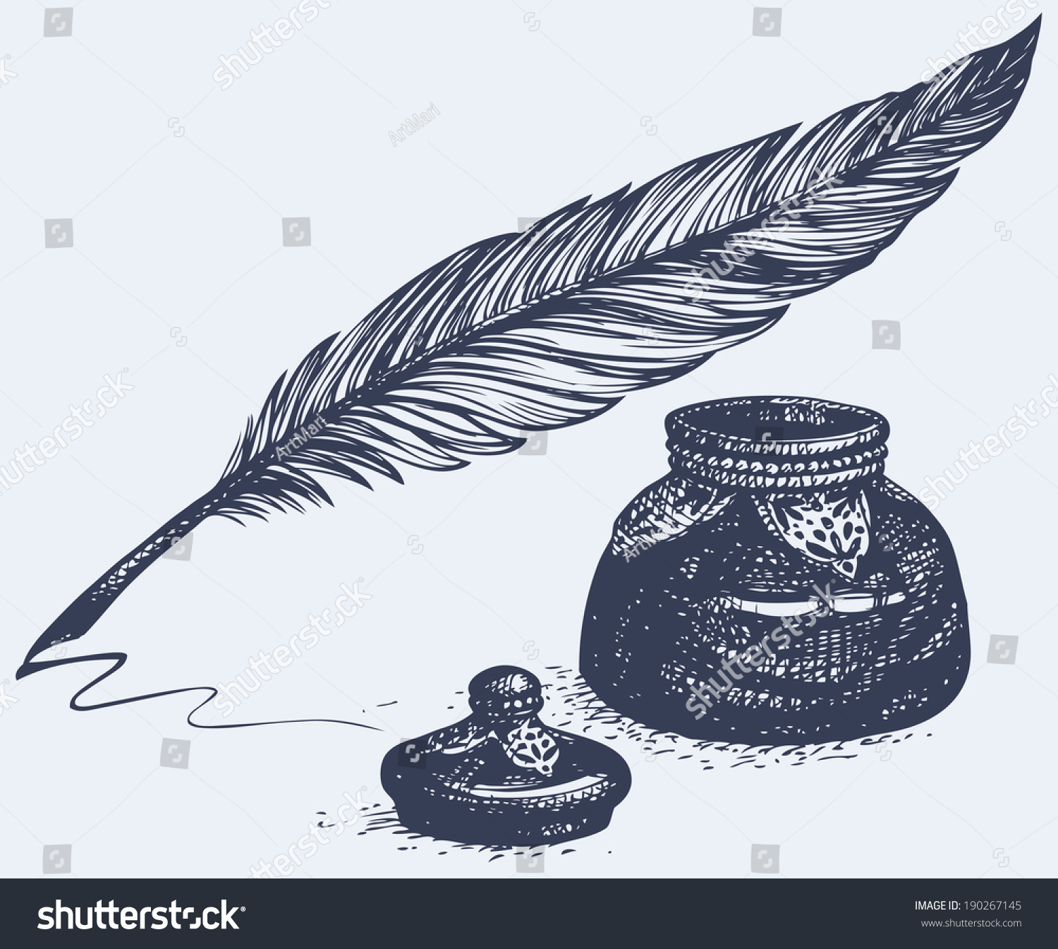 Ancient Soapstone Inkwell Stock Photo: Vector Freehand Linear Monochrome Drawing Of Ancient Pen