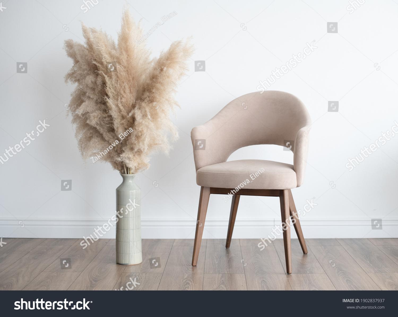 Stylish Scandinavian modern white cozy eco interior in minimalist style.Modern home decor. Open space. #1902837937
