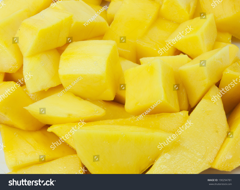 Mango Chunks Full Frame Closeup Stock Photo (Royalty Free) 190294781 ...