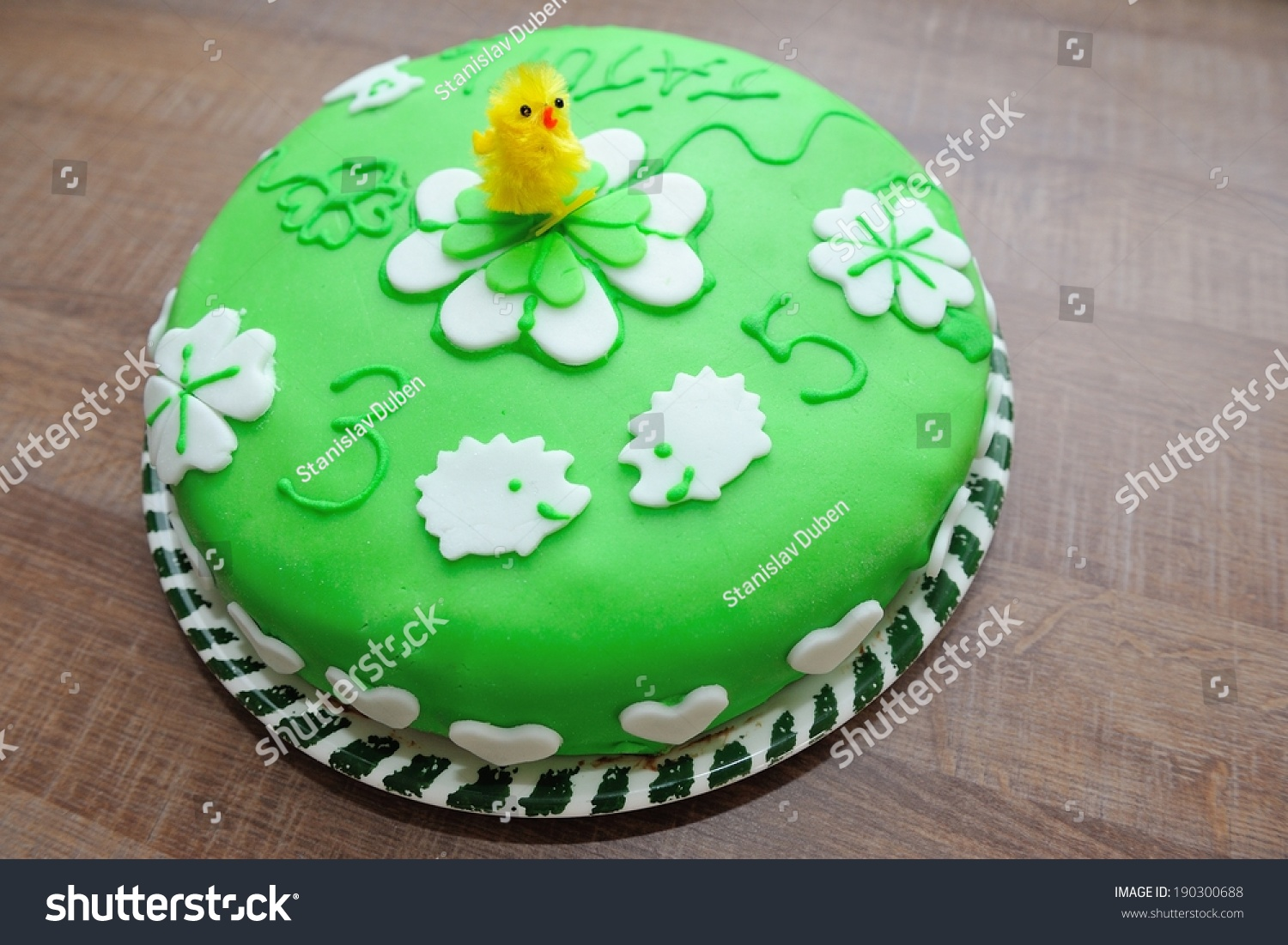 Beautiful Green Tasty Cake Decorated By Stock Photo Edit Now