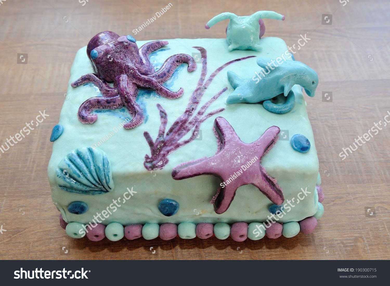 Terrific Beautiful Birthday Cake Submarine Decoration Dolphin Stock Photo Funny Birthday Cards Online Inifodamsfinfo