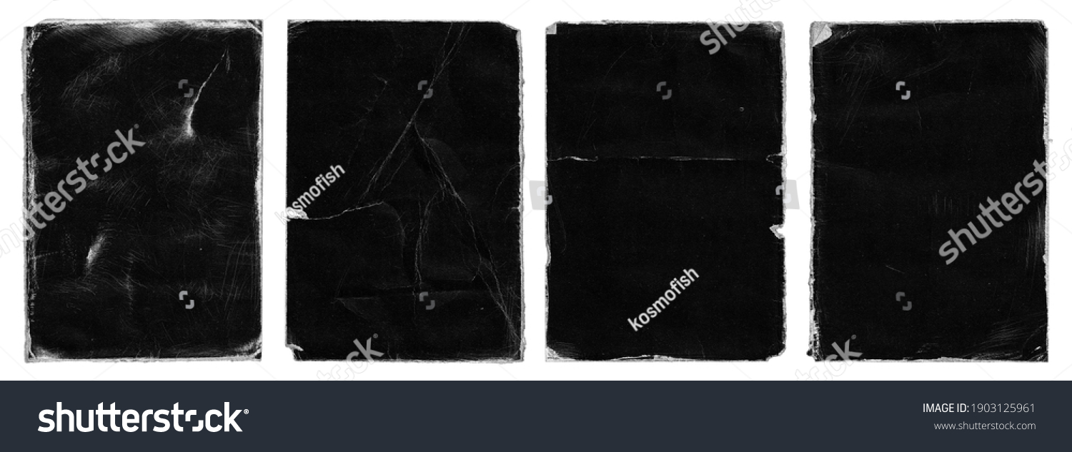 Set of Old Black Empty Aged Damaged Paper Cardboard Photo Card Isolated on White. Rough Grunge Shabby Scratched Torn Ripped Texture. Distressed Overlay Surface for Collage. High Quality. #1903125961