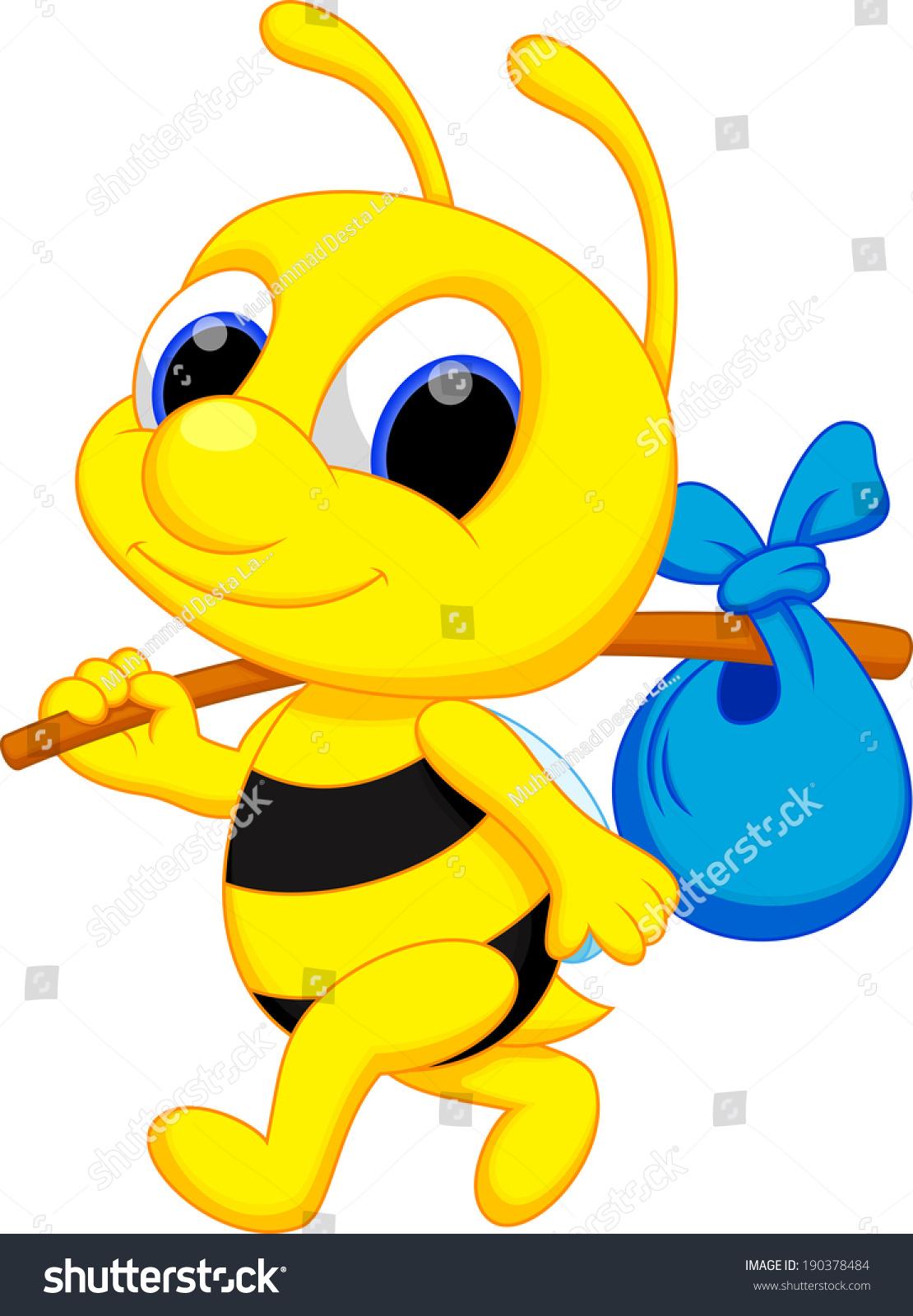 cute bee cartoon go wander stock vector 190378484