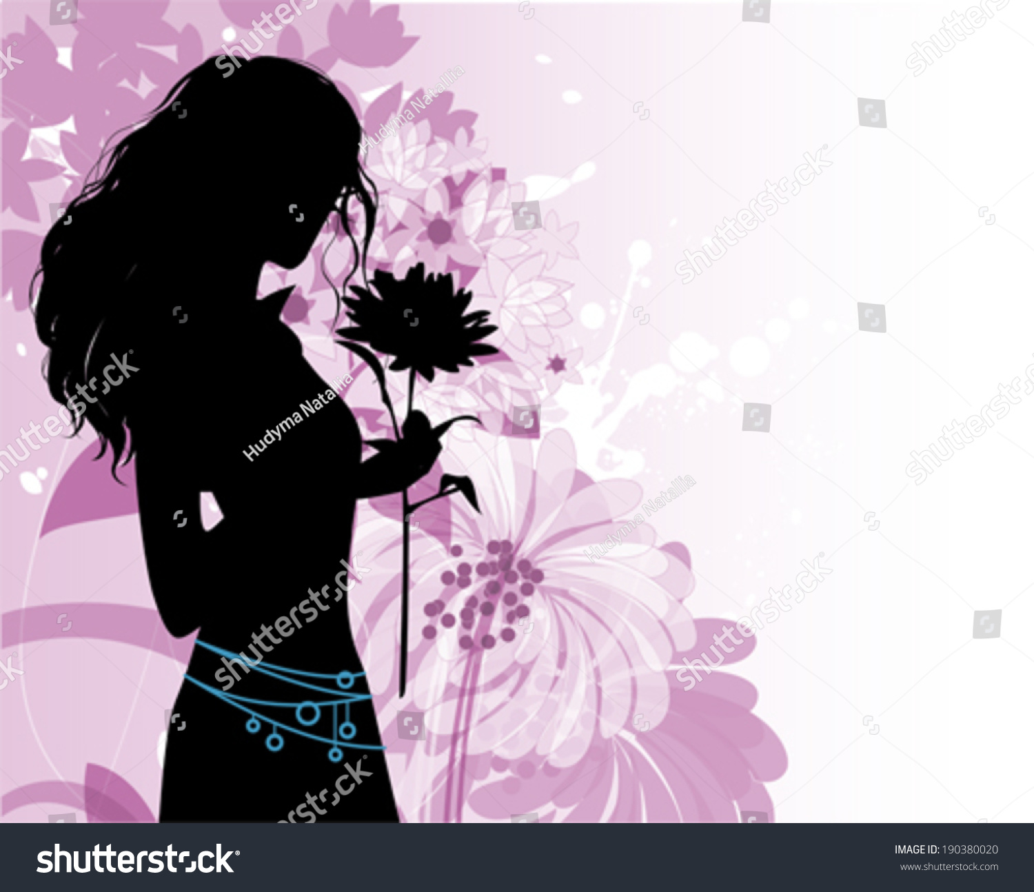 Beautiful woman flowers stock vector 190380020 shutterstock beautiful woman with flowers dhlflorist Gallery