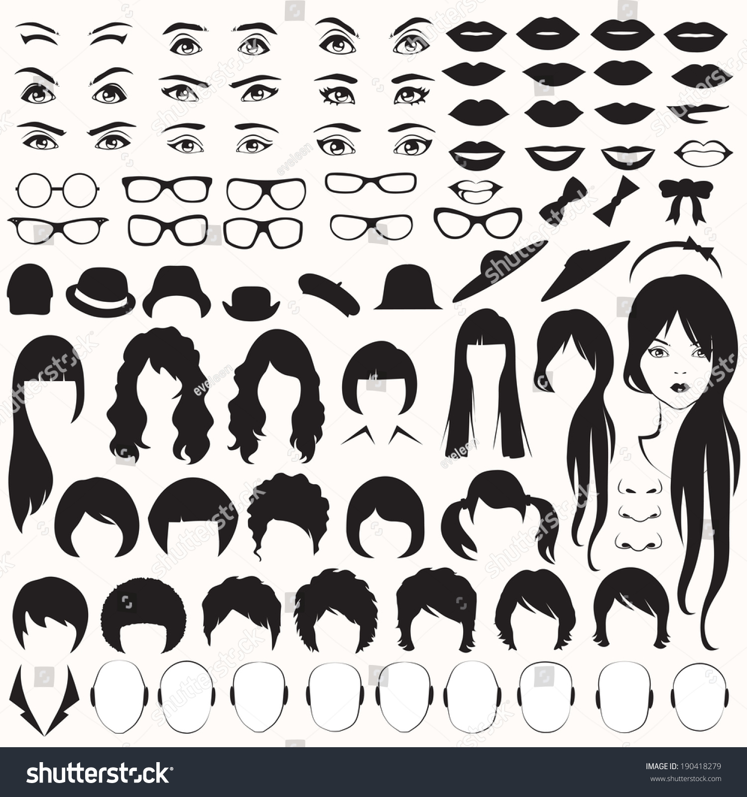 Eye Glasses Hat Lips And Hair Vector Woman Face Parts