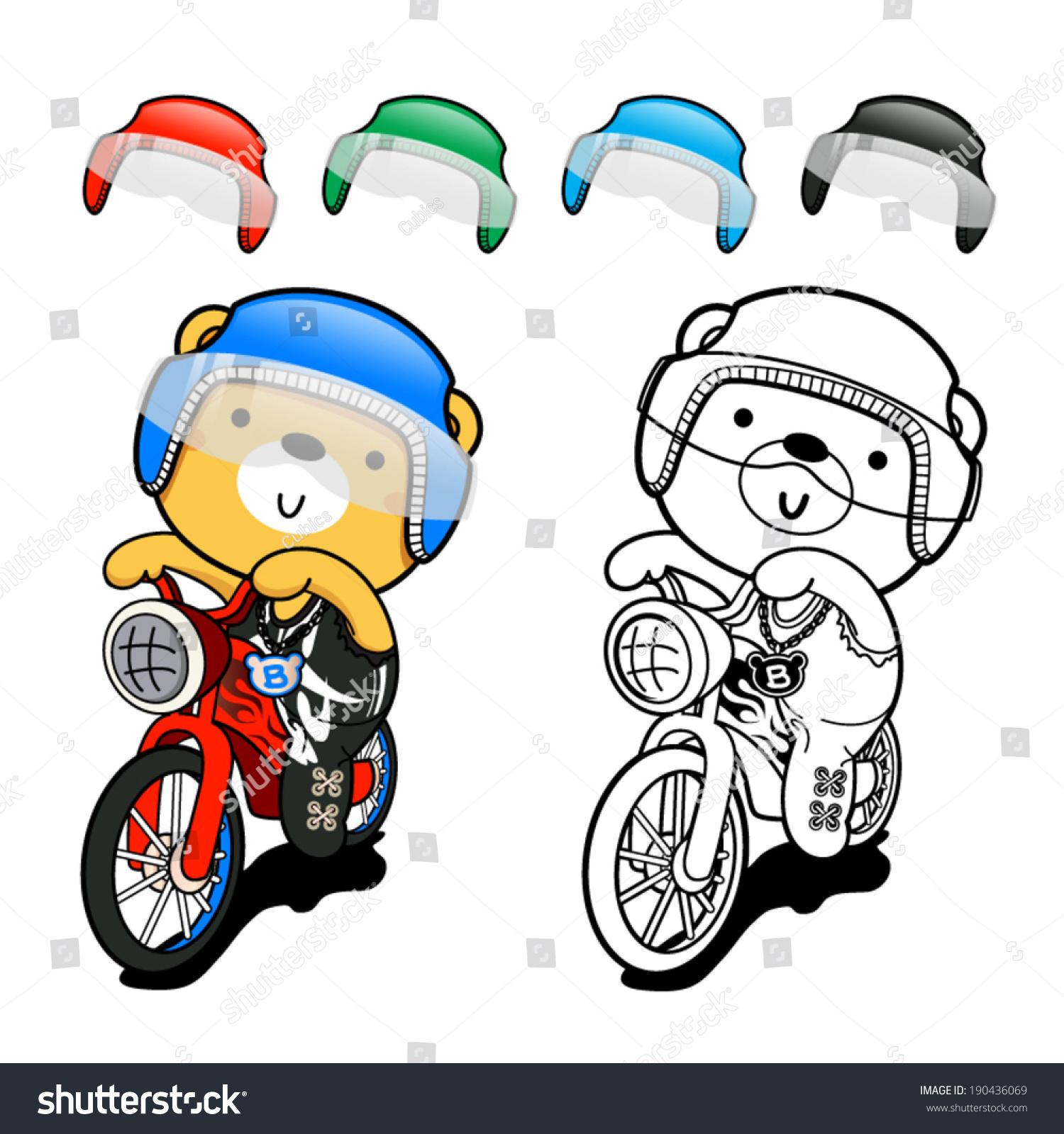 Bear Cute Posing On Bike Stock Vector 190436069 Shutterstock
