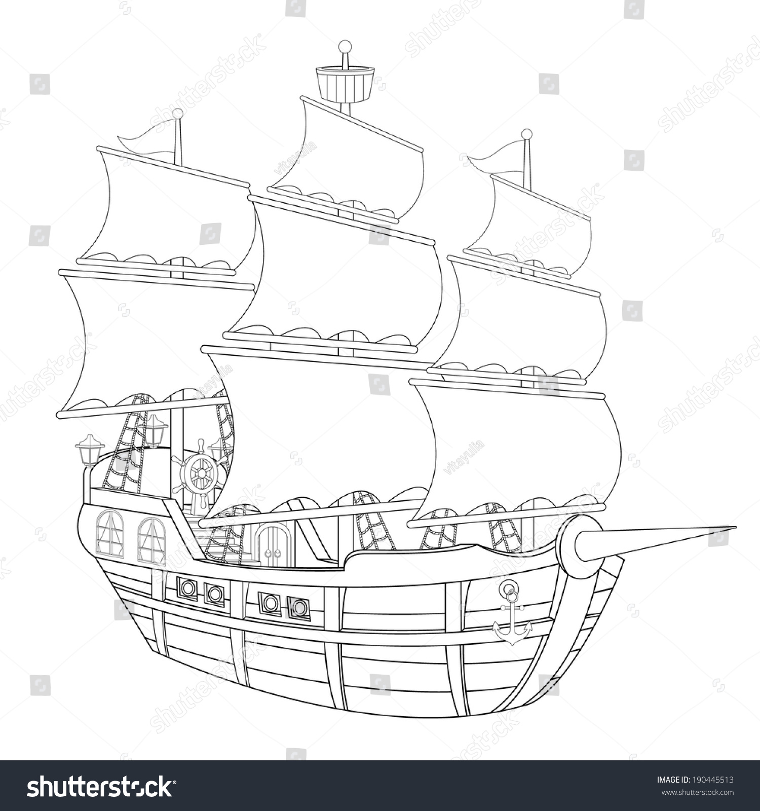 Coloring page pirate ship illustration children stock vector the coloring page pirate ship illustration for the children pooptronica Choice Image