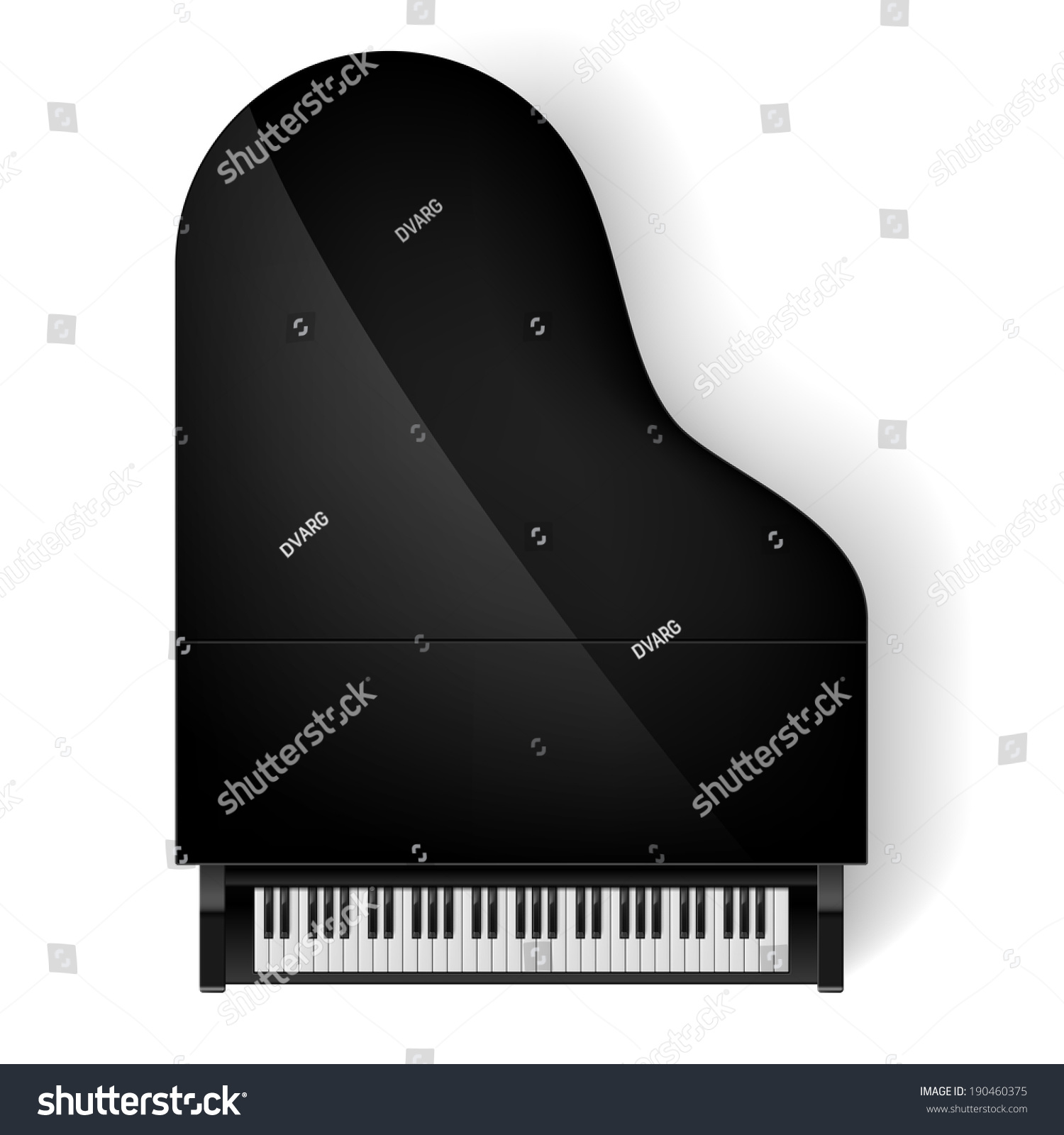Top View Of Black Grand Piano On White Background Stock ...