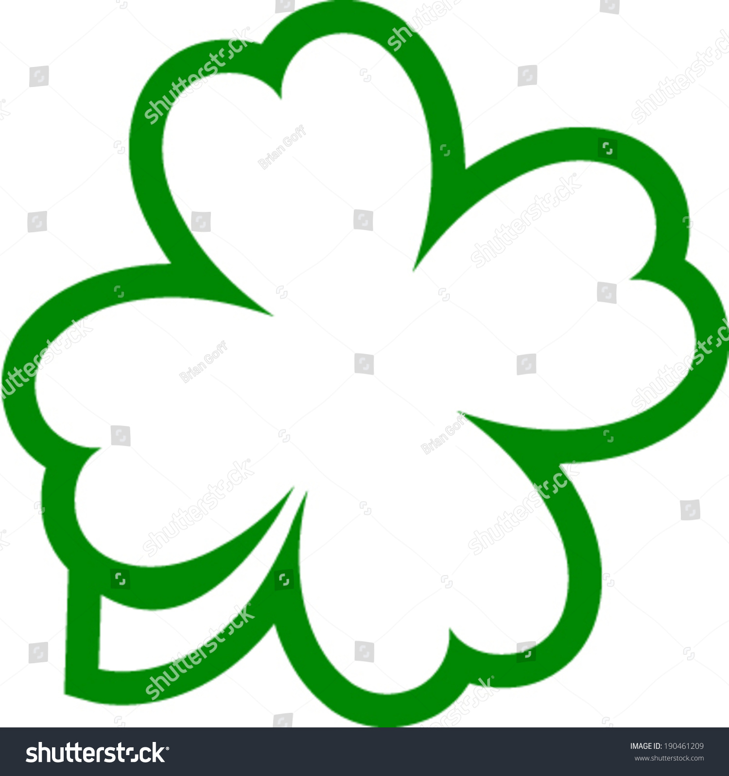 lucky four leaf clover outline vector stock vector 190461209