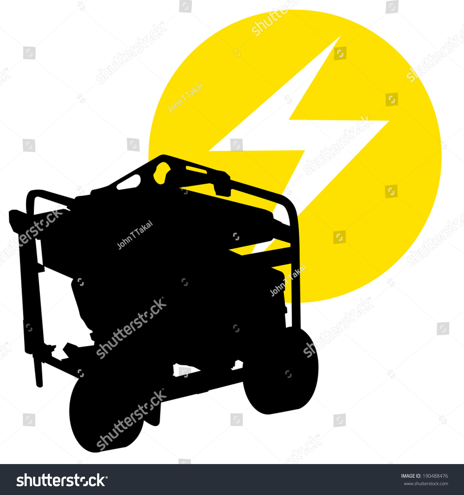 Silhouette Image Gas Powered Electric Generator Stock Vector